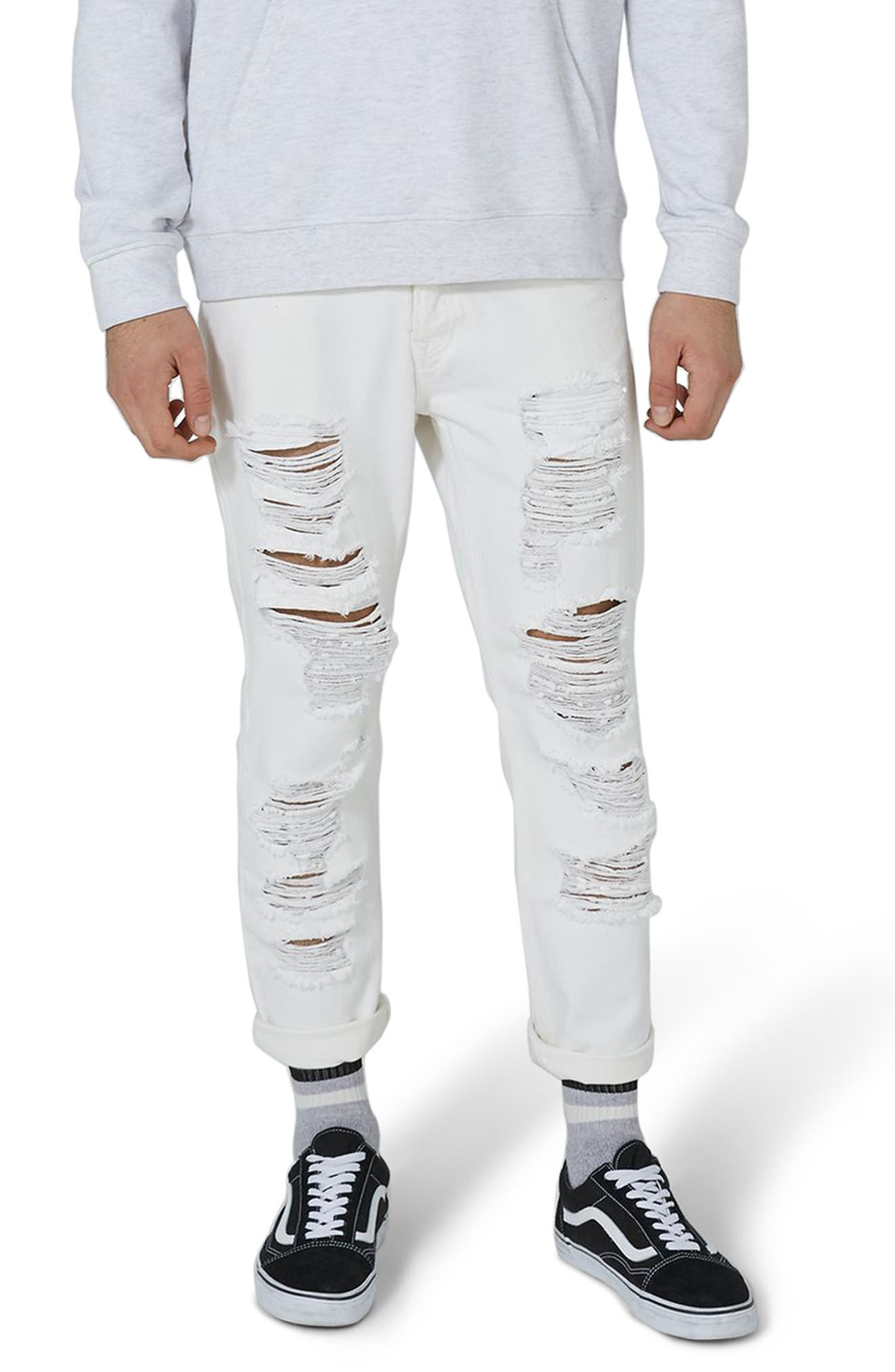 Extreme Ripped Tapered Fit Jeans,                             Main thumbnail 1, color,                             White