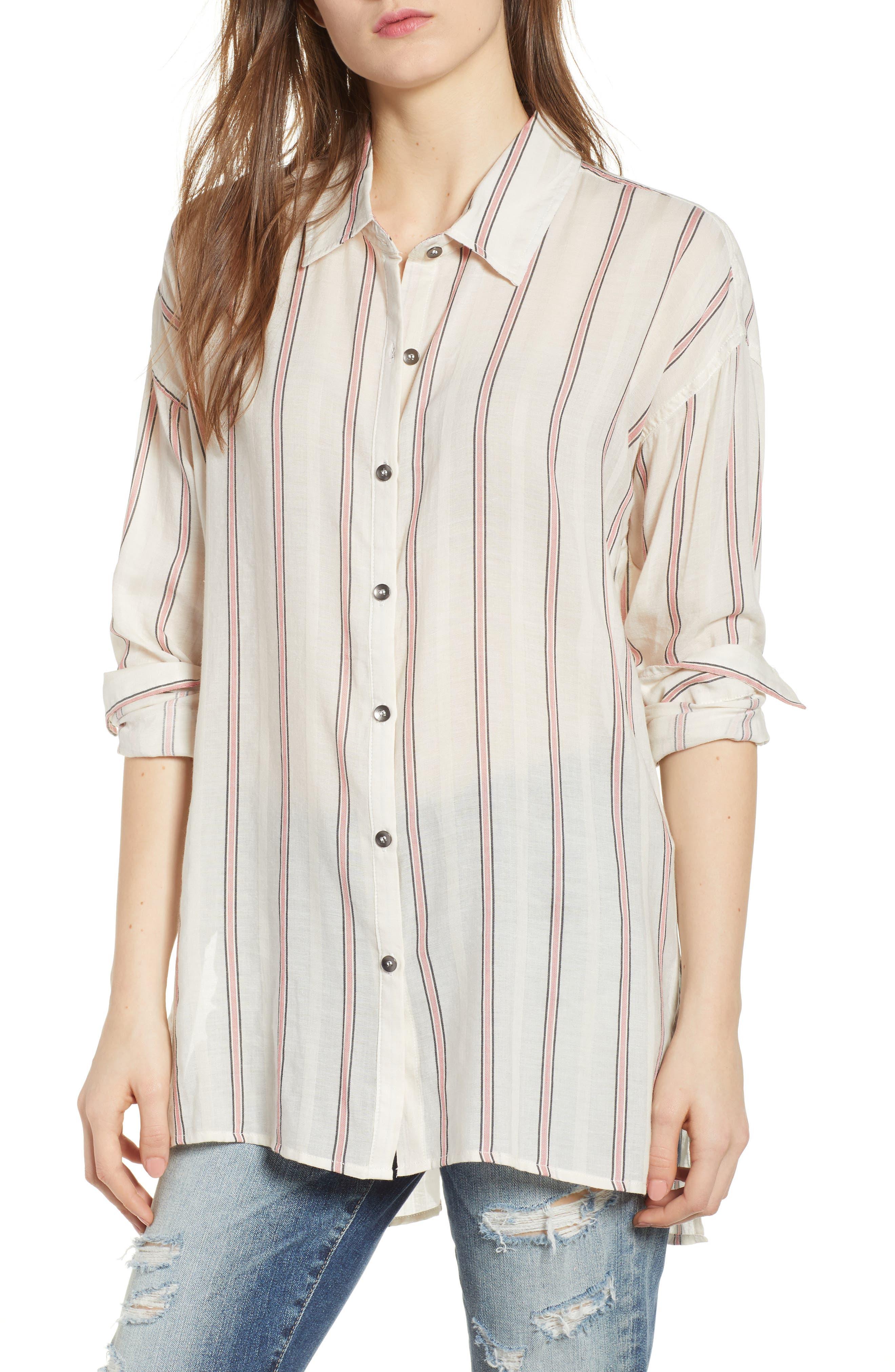 Stripe Woven Shirt,                         Main,                         color, Off White