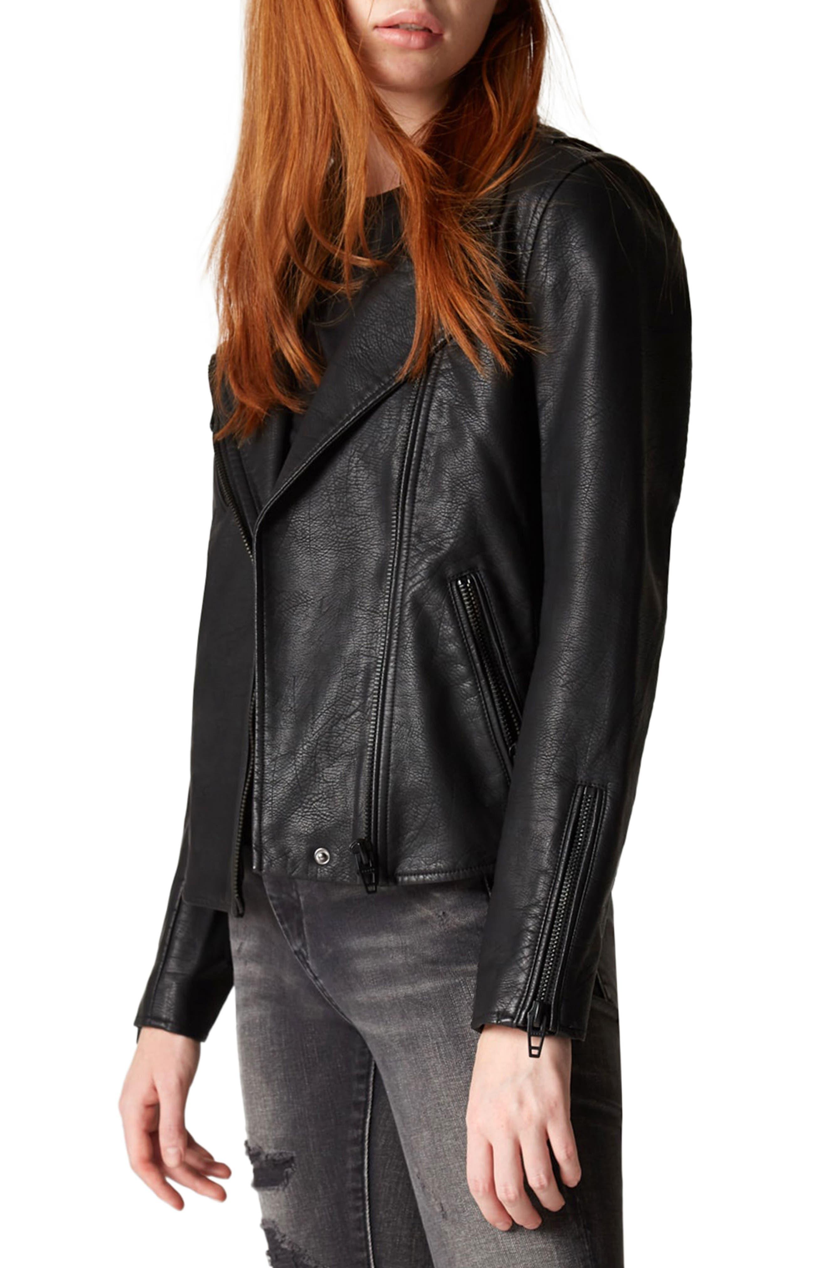 Faux Leather Moto Jacket,                             Alternate thumbnail 4, color,                             Onyx