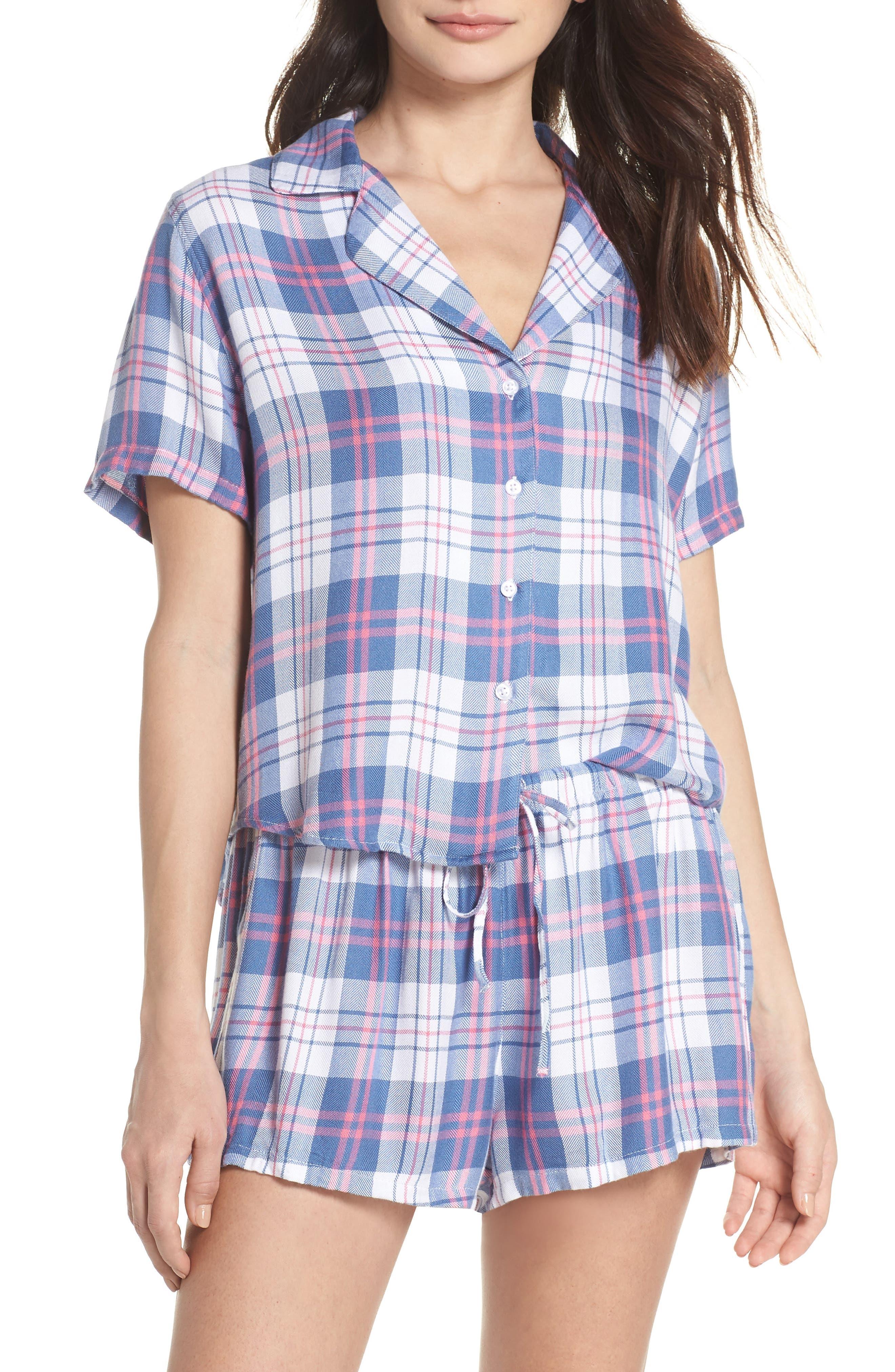 Plaid Short Pajamas,                             Main thumbnail 1, color,                             Watermelon Coast White