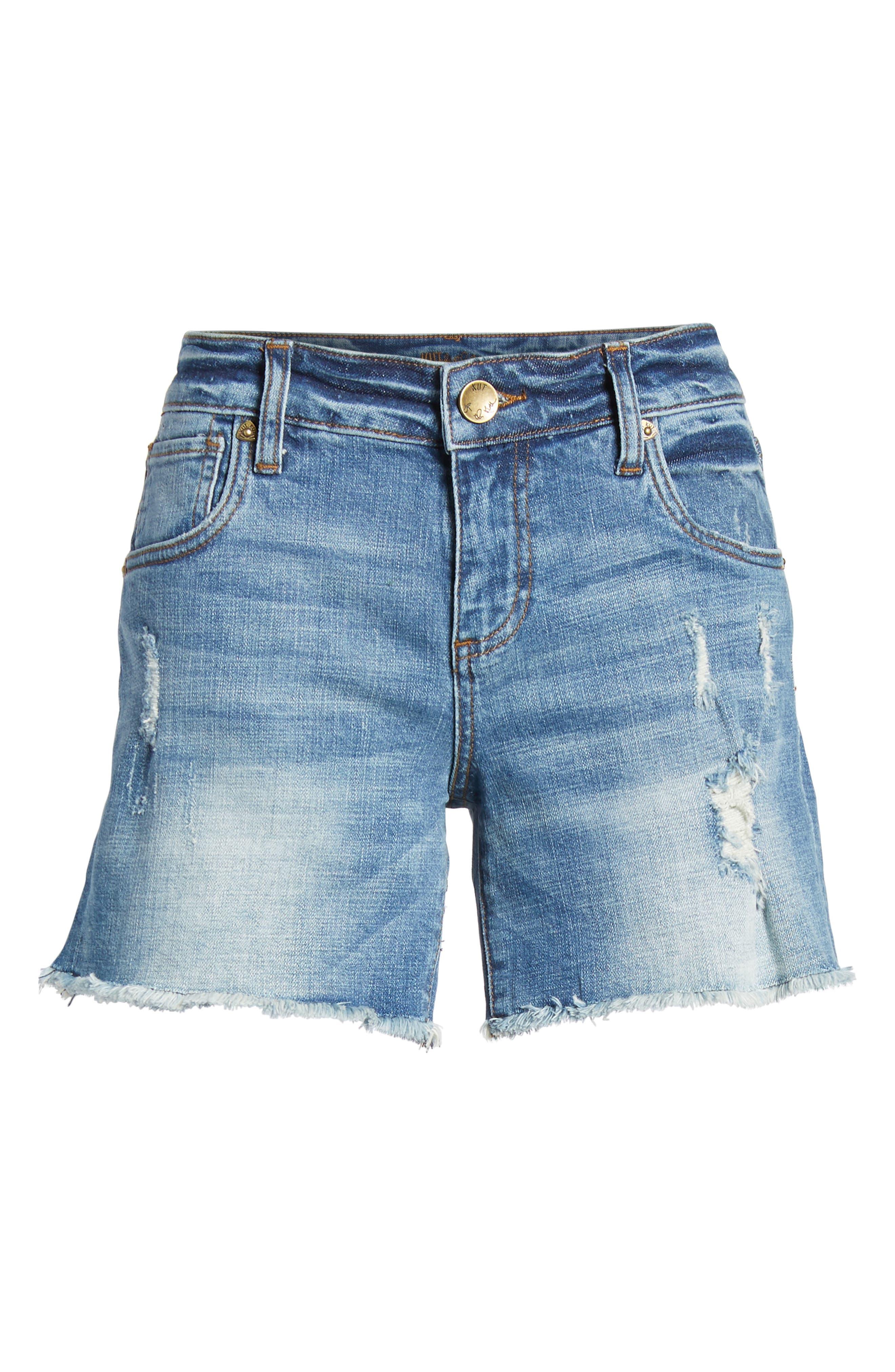 Gidget Distressed Denim Shorts,                             Alternate thumbnail 7, color,                             Constructive