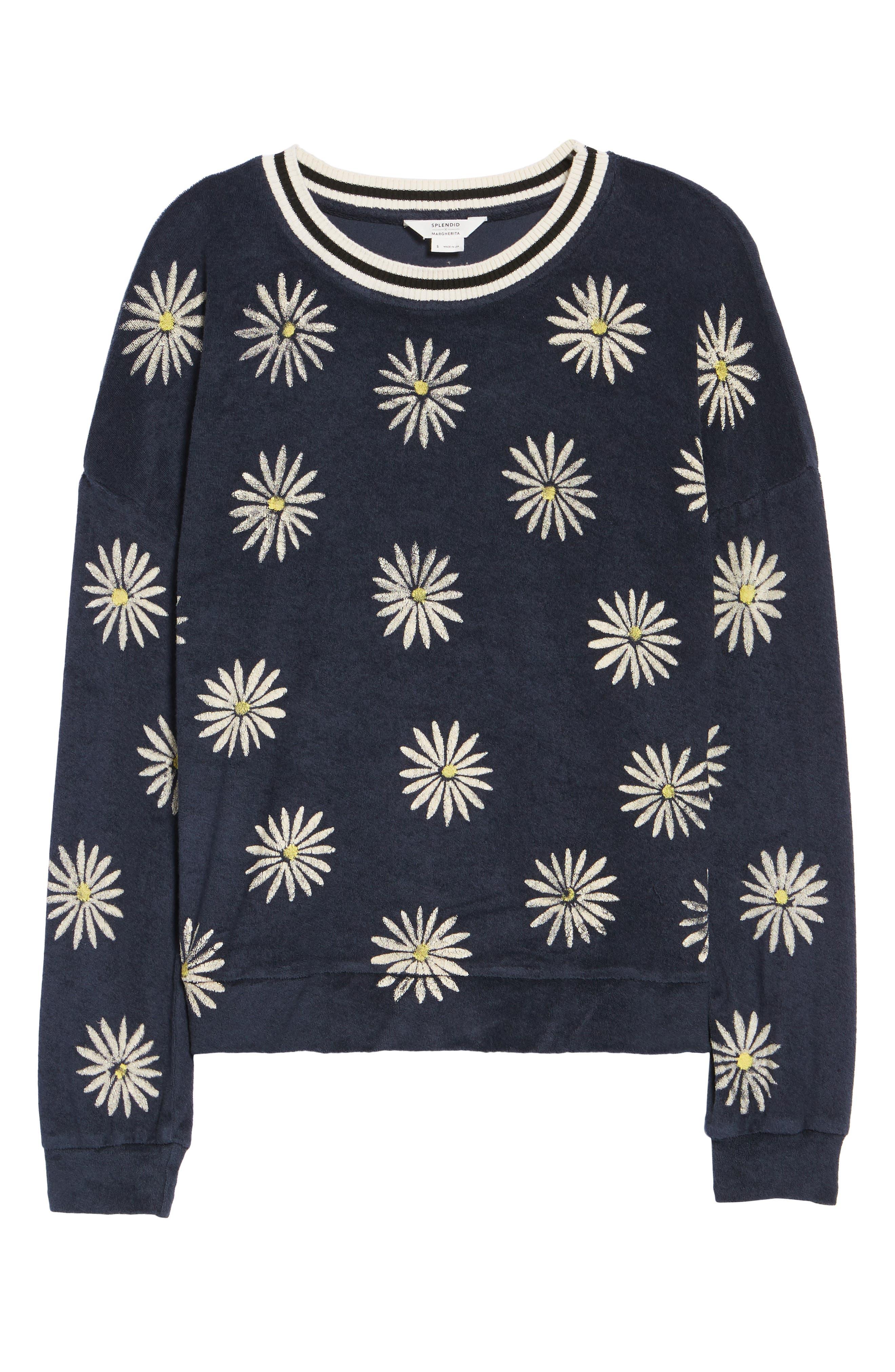 x Margherita Fiore Daisy Sweatshirt,                             Alternate thumbnail 8, color,                             Navy