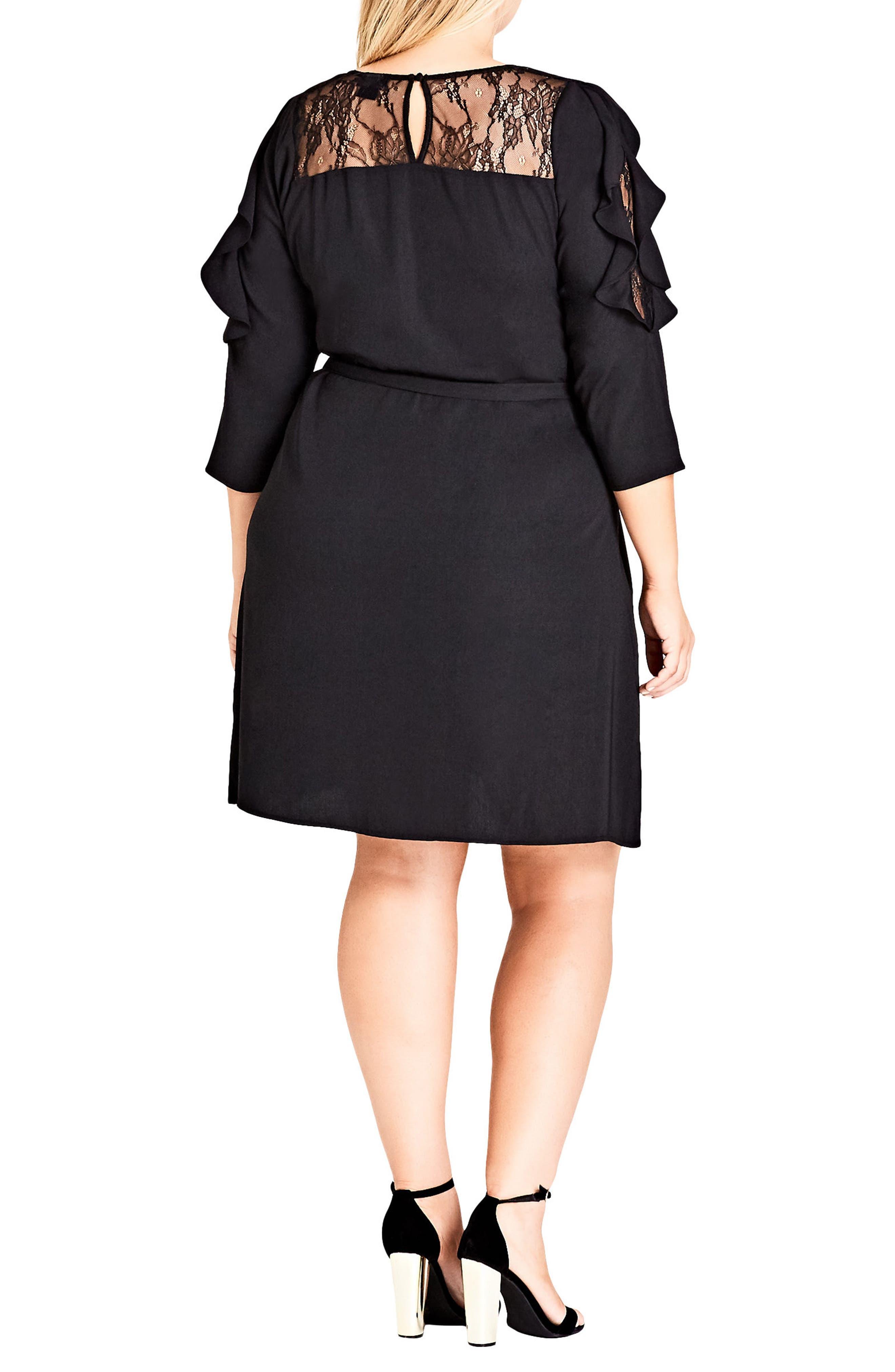 Fancy Frill Lace Detail A-Line Dress,                             Alternate thumbnail 2, color,                             Black