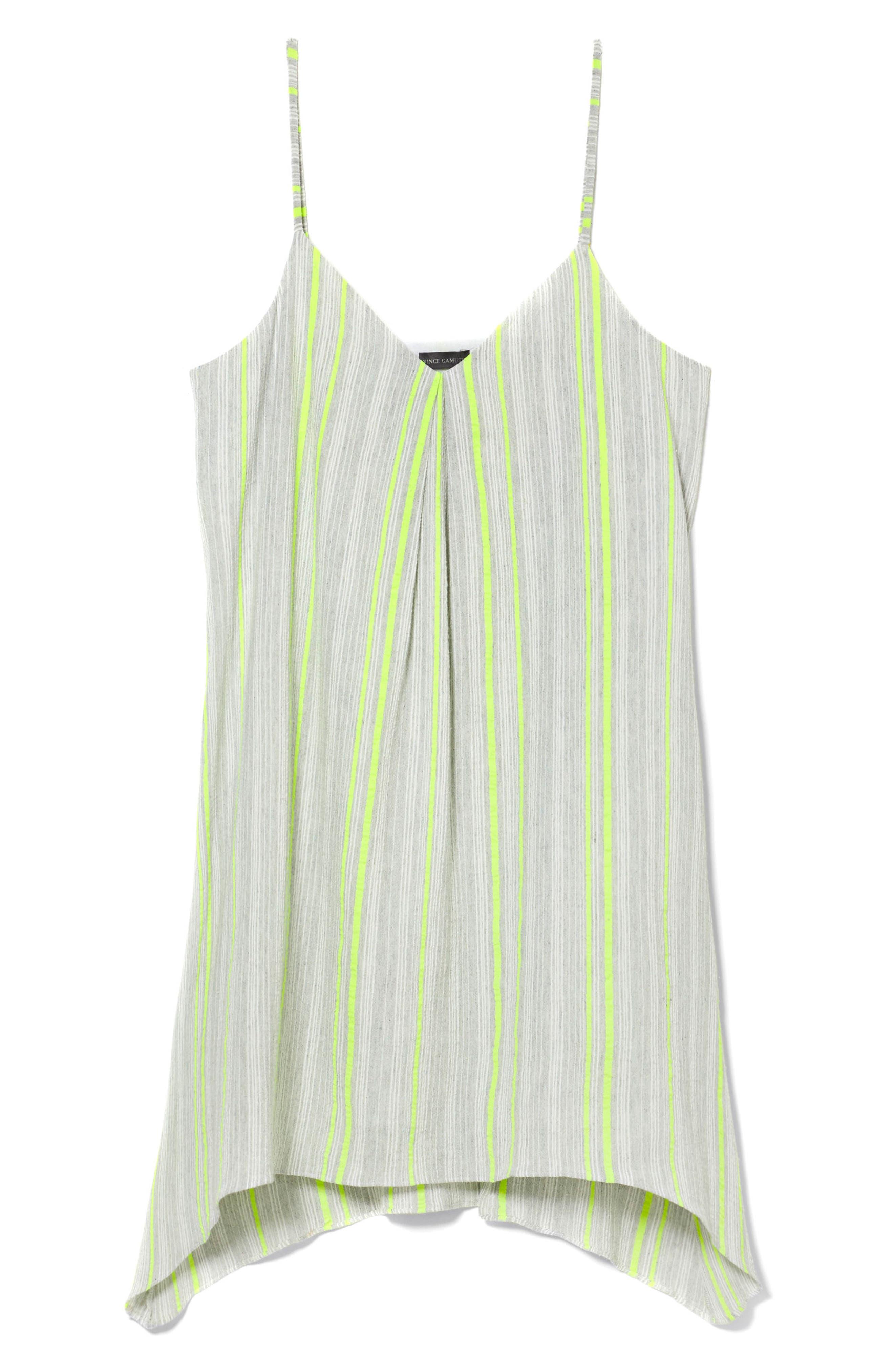 Sharkbite Stripe Cotton Blend Gauze Dress,                             Alternate thumbnail 3, color,                             Island Lime