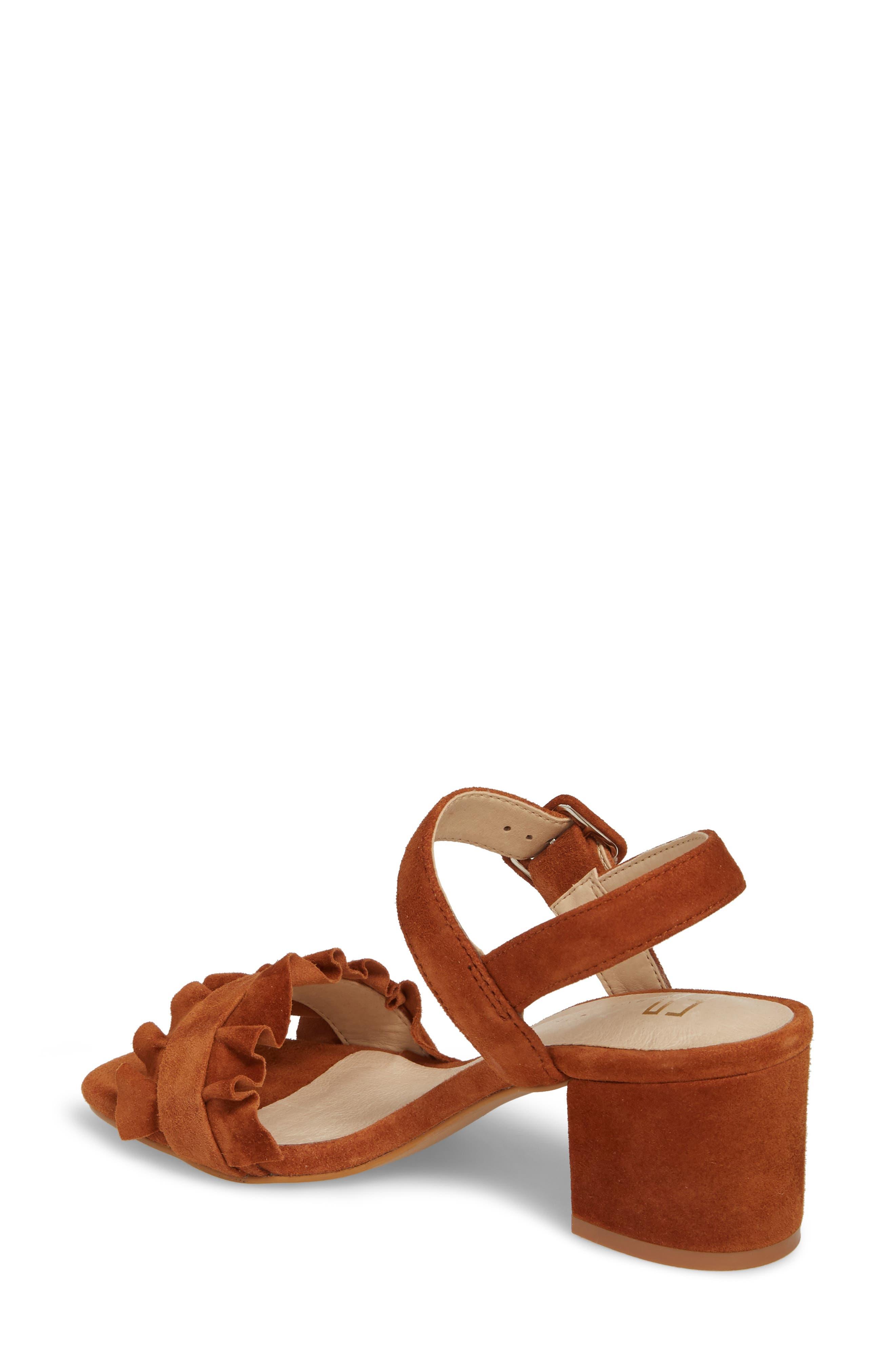 Sandie Block Heel Sandal,                             Alternate thumbnail 2, color,                             Tan Suede