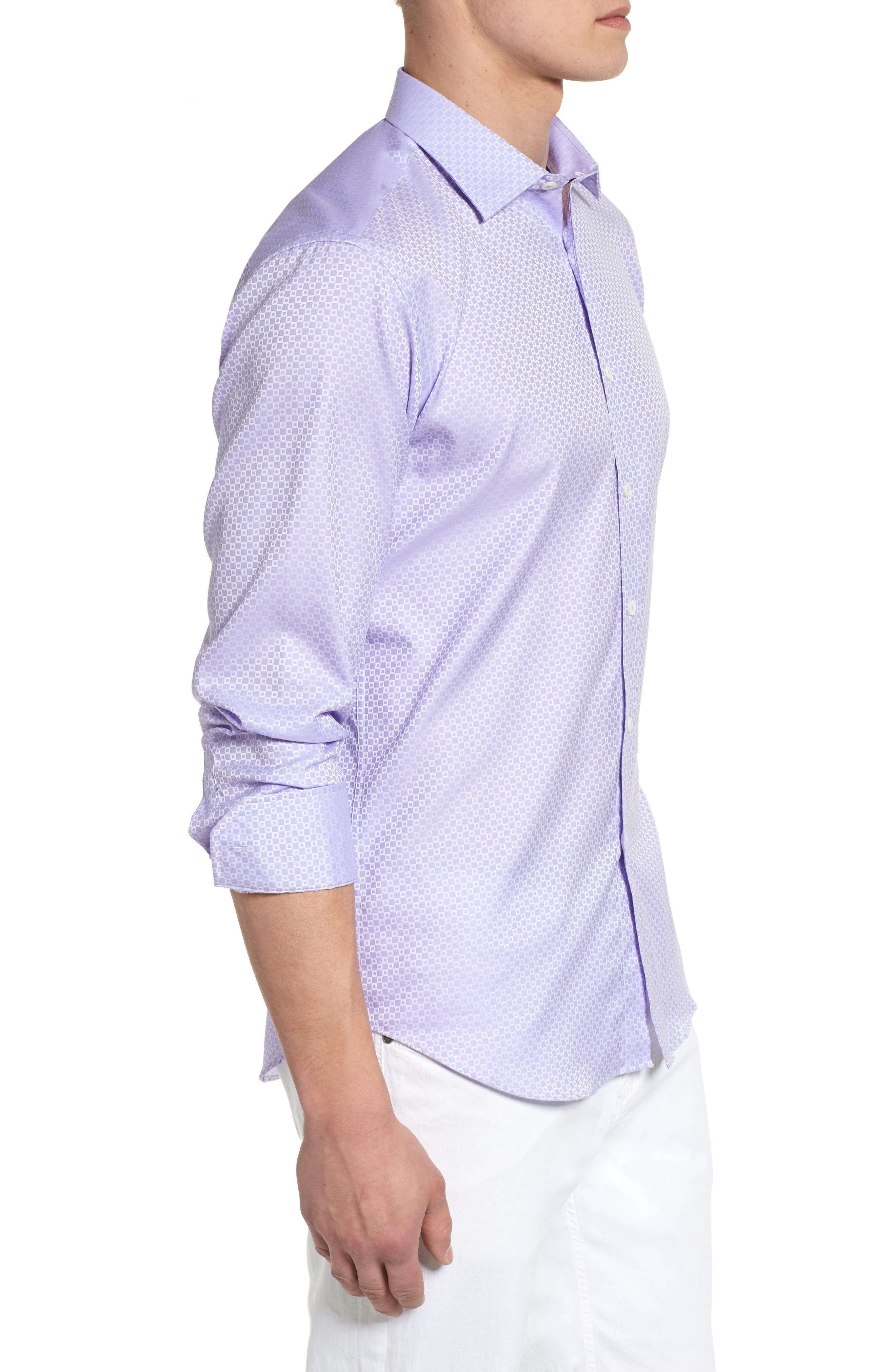 Woven Sport Shirt,                             Alternate thumbnail 3, color,                             Lavender