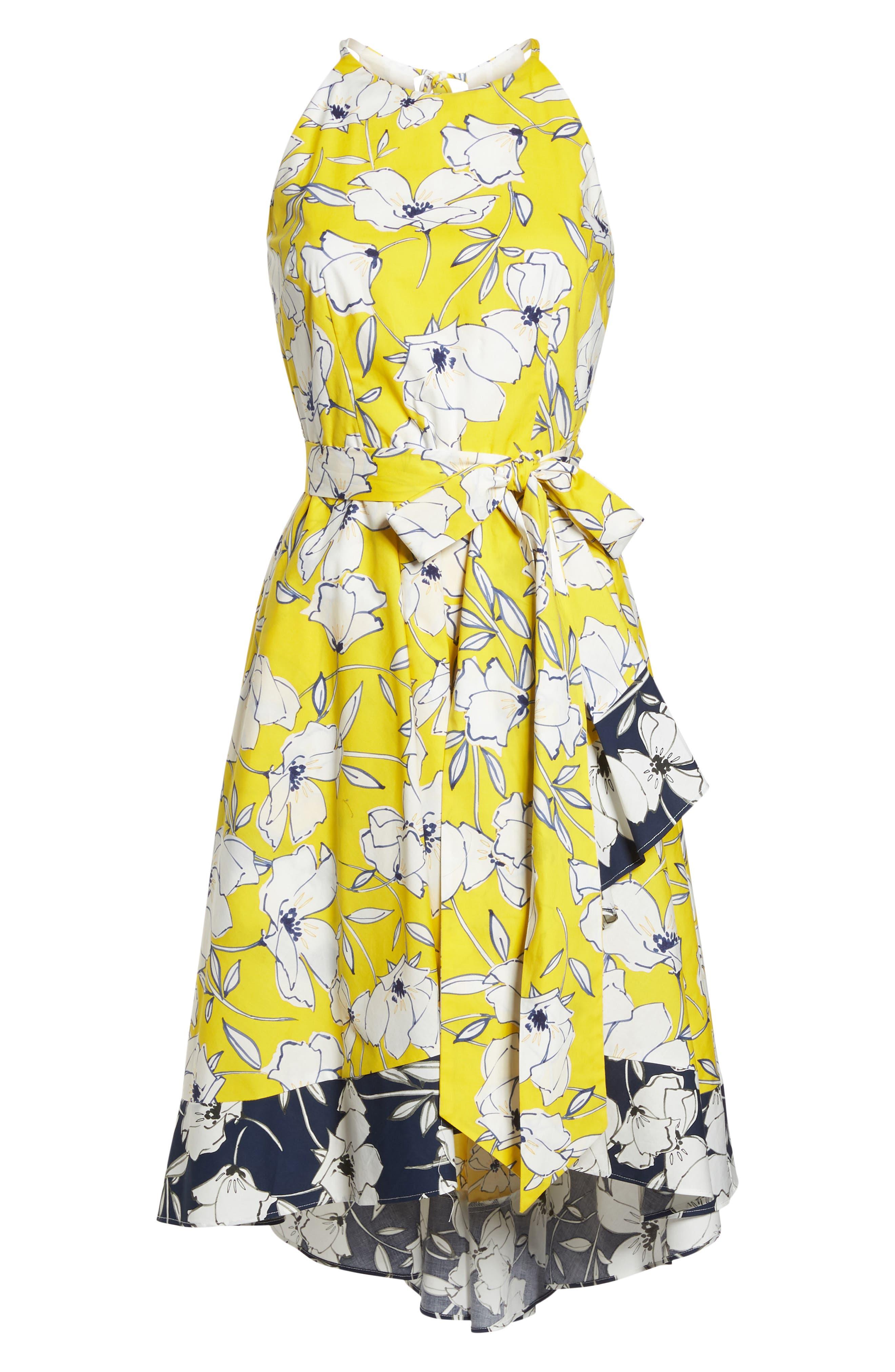 Floral Tie Waist Dress,                             Alternate thumbnail 7, color,                             Yellow/ Navy/ White