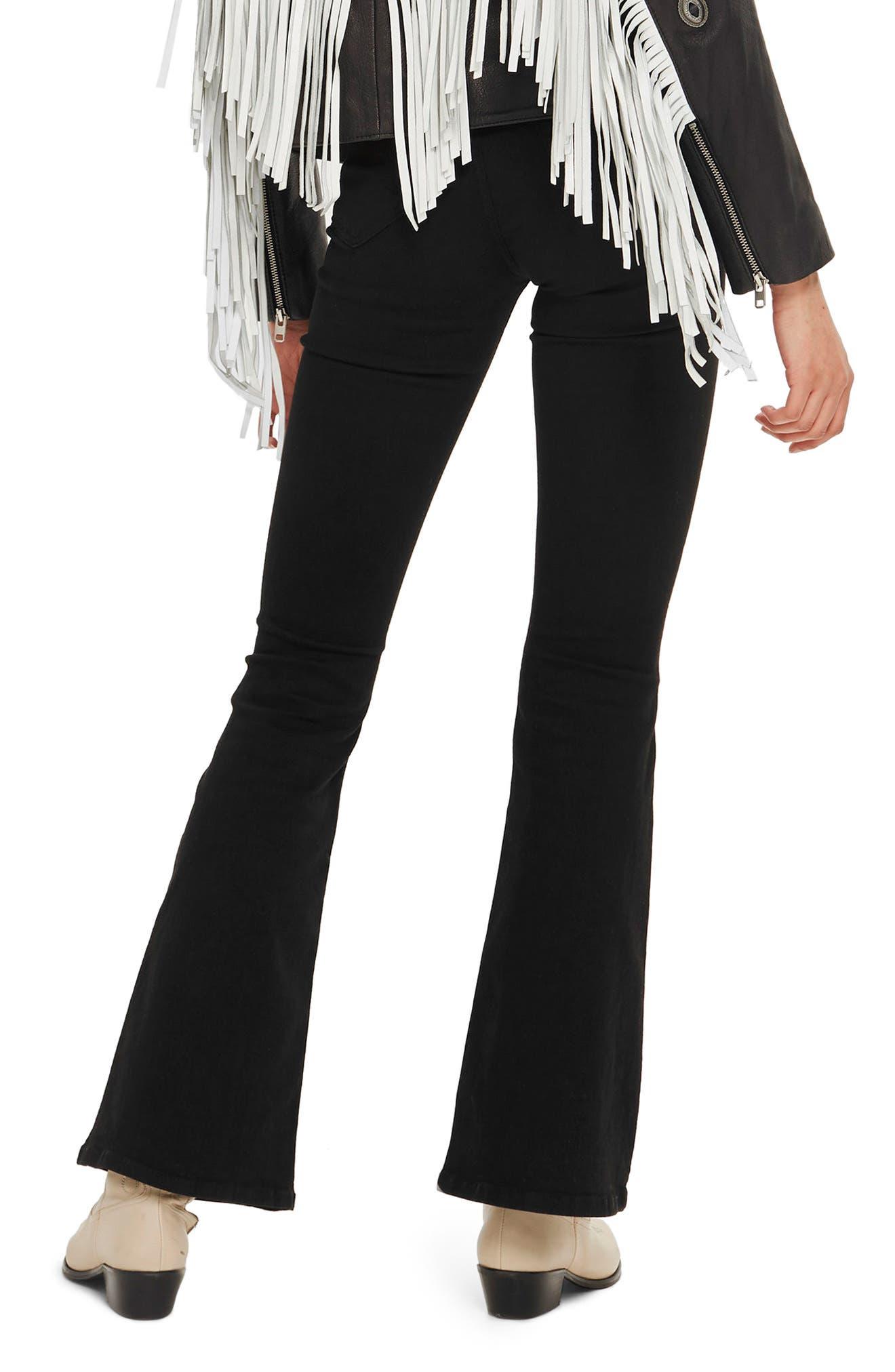 Jamie Flare Jeans,                             Alternate thumbnail 4, color,                             Black