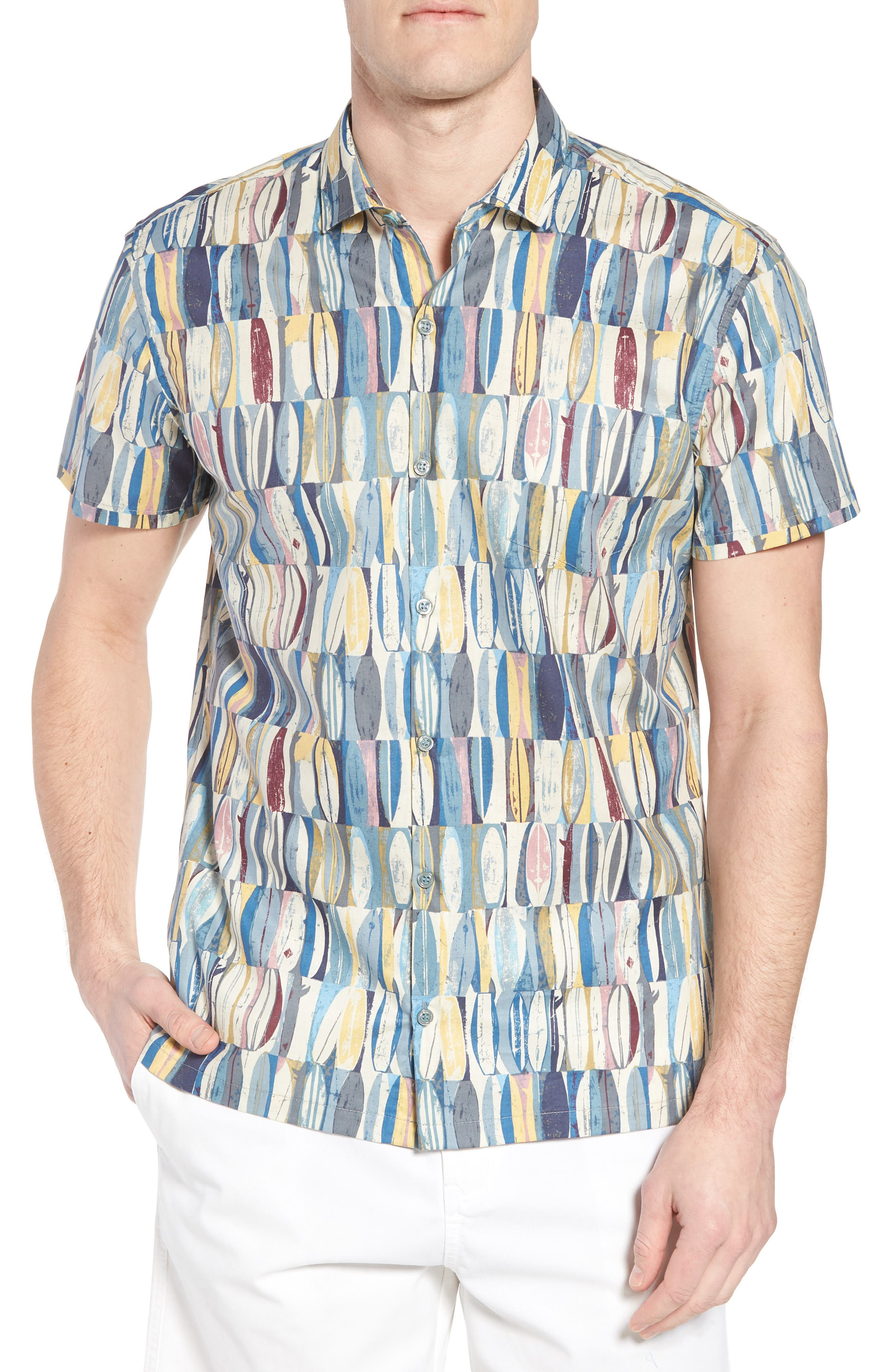 Board Room Trim Fit Camp Shirt,                             Main thumbnail 1, color,                             Ocean Blue