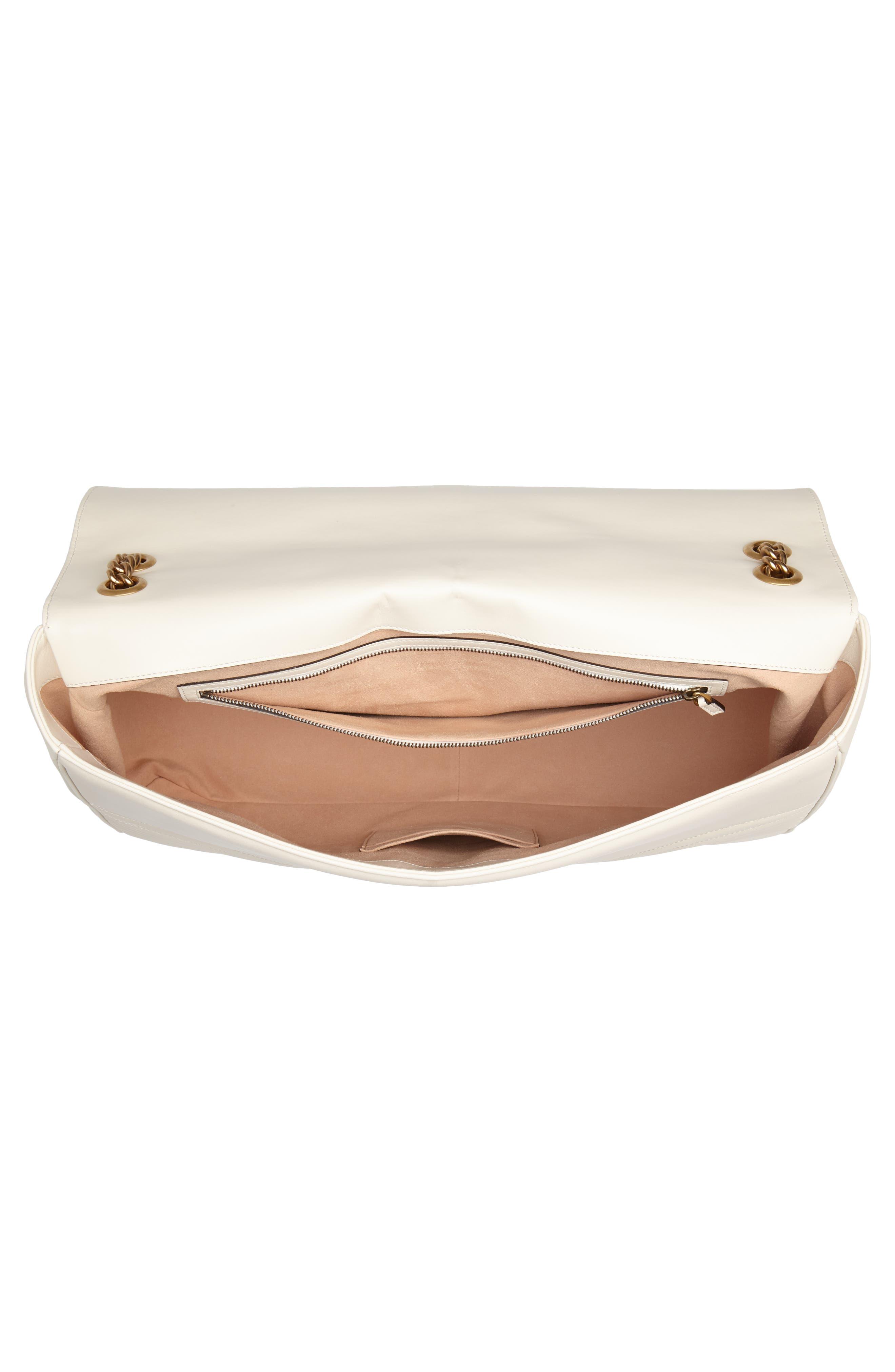 GG Marmont Maxi Matelassé Top Handle Shoulder Bag,                             Alternate thumbnail 4, color,                             White