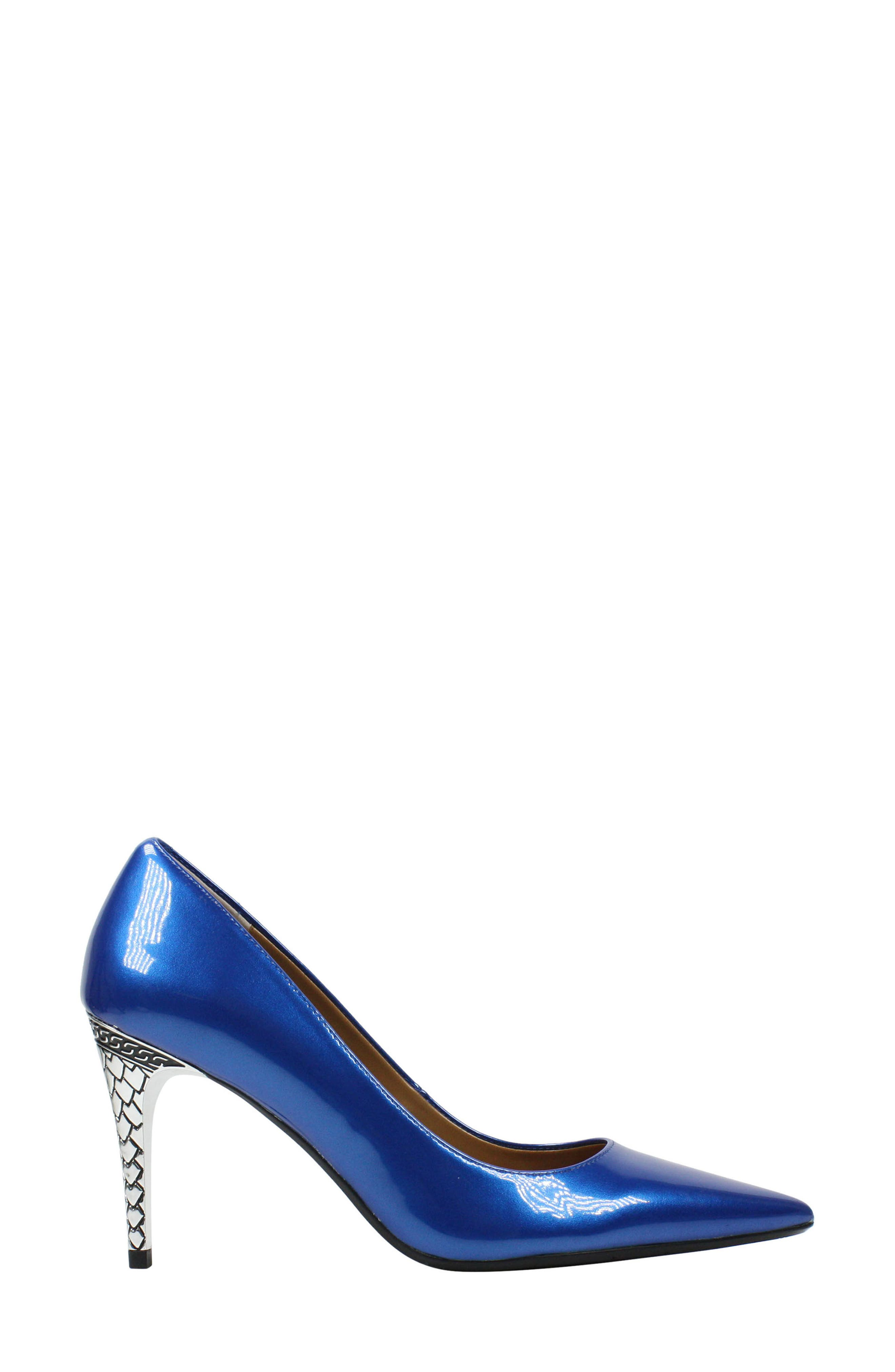 'Maressa' Pointy Toe Pump,                             Alternate thumbnail 3, color,                             Blue Patent