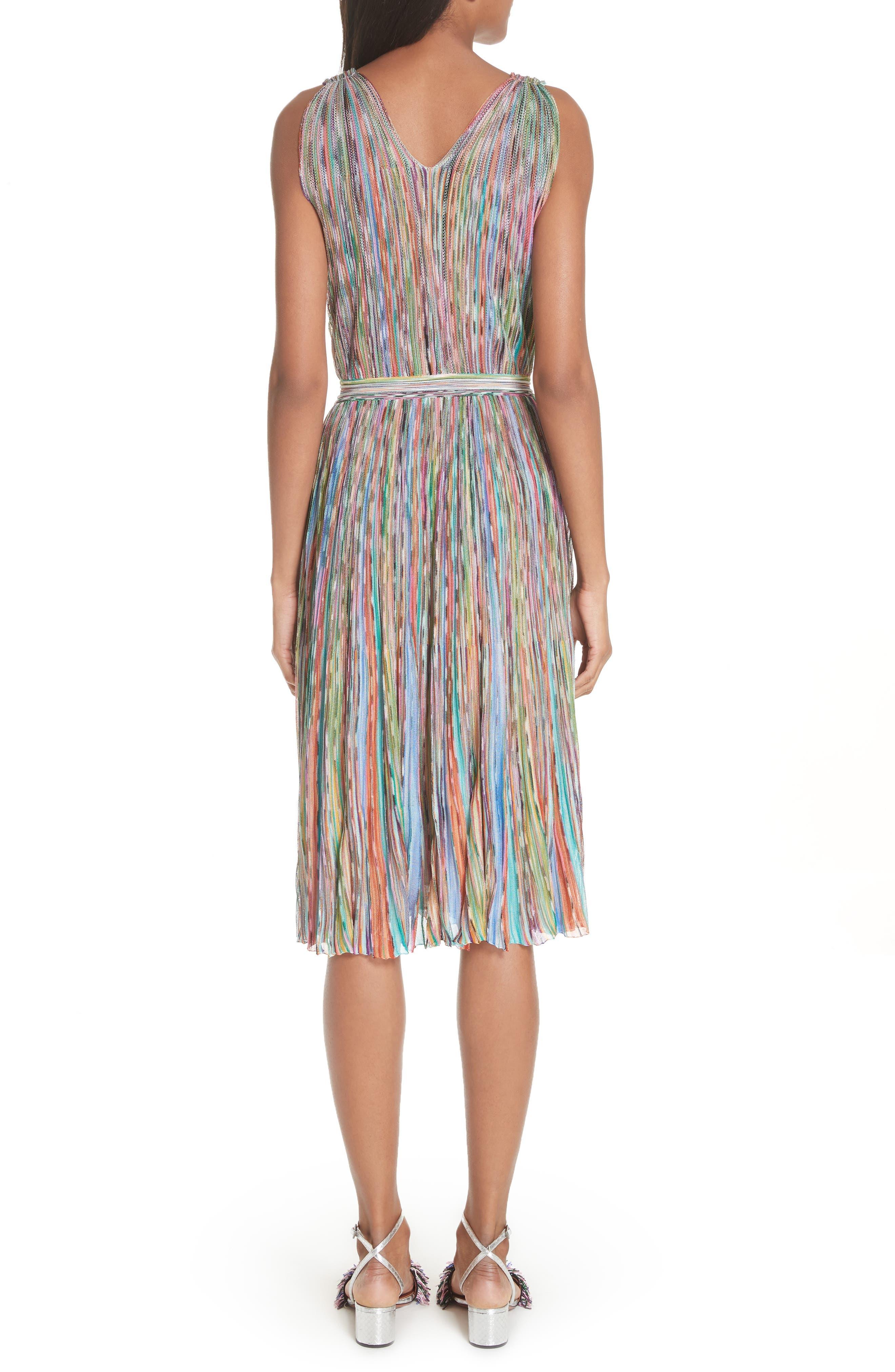 Surplice Neck Stripe Midi Dress,                             Alternate thumbnail 2, color,                             Multi