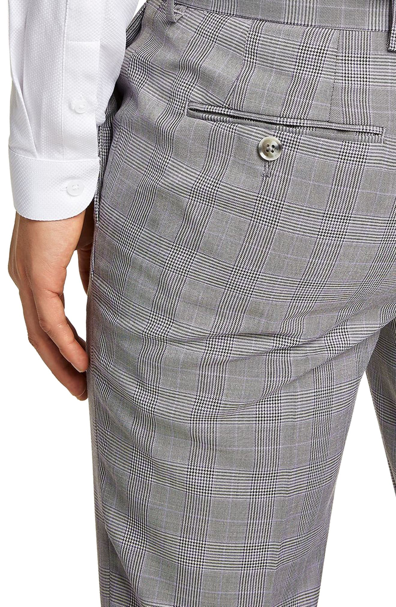 Skinny Fit Check Suit Trousers,                             Alternate thumbnail 3, color,                             Grey Multi