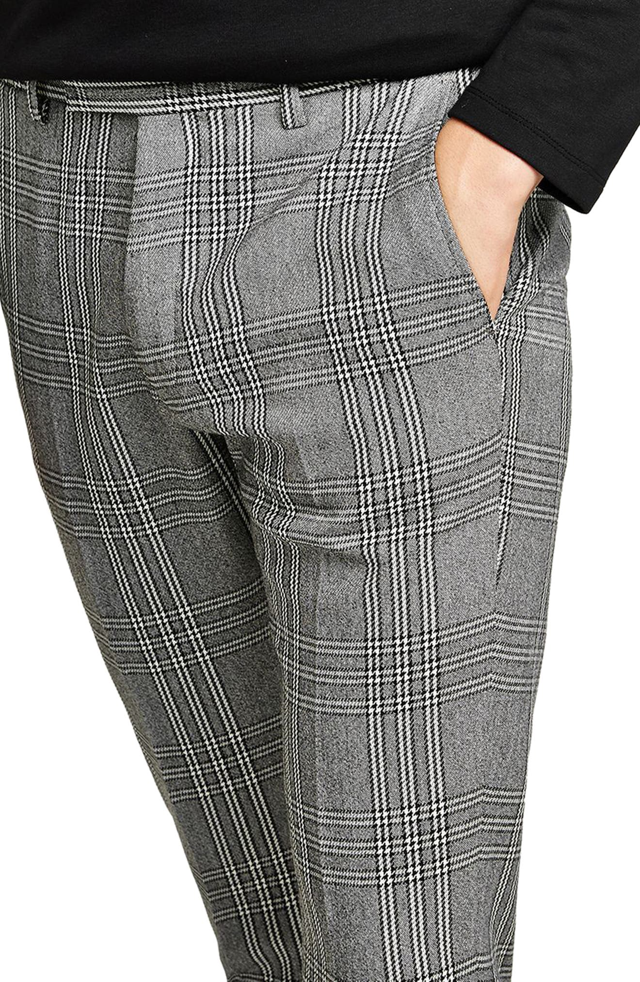 Skinny Fit Check Crop Trousers,                             Alternate thumbnail 3, color,                             Grey Multi
