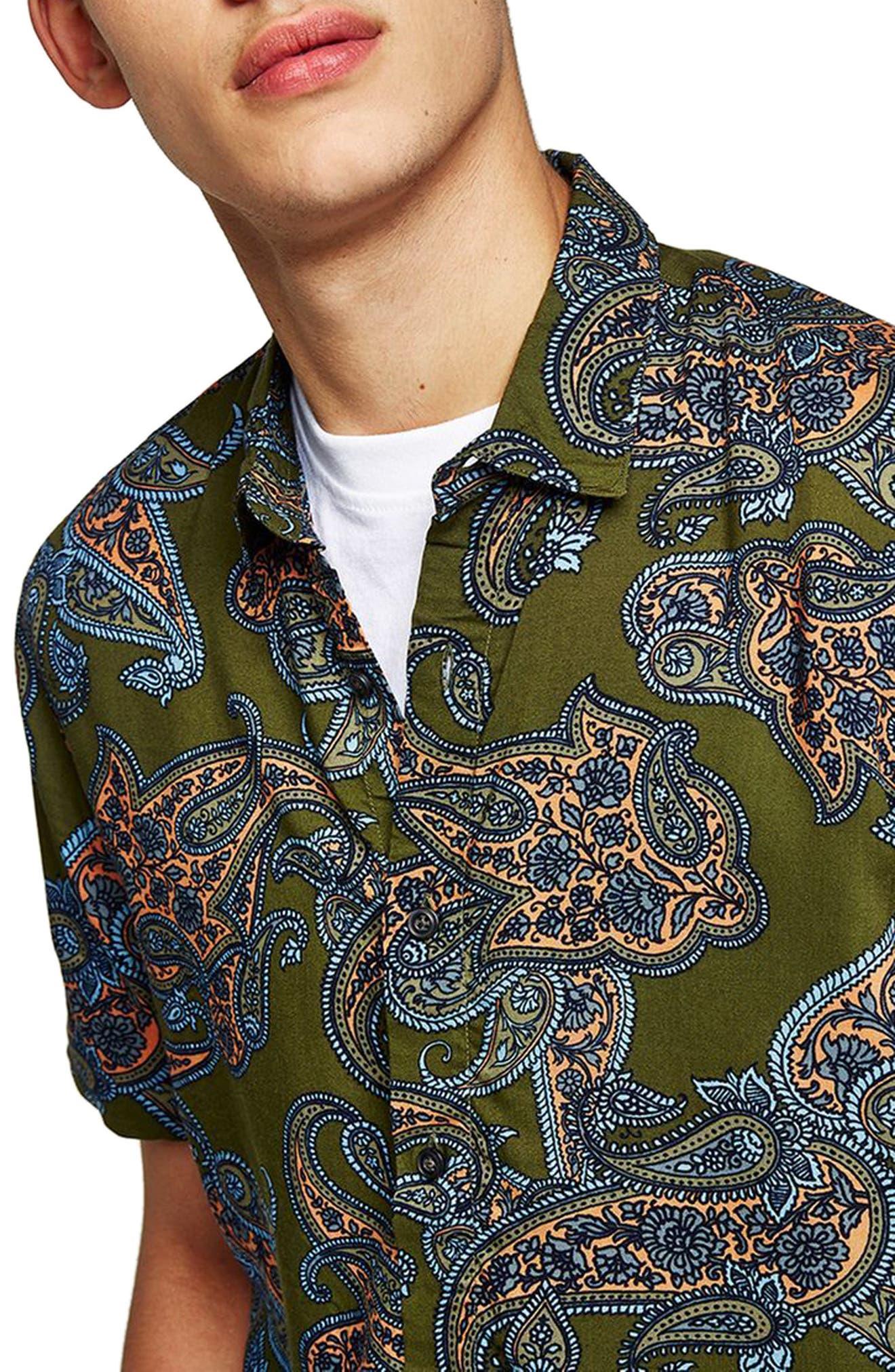 Paisley Print Shirt,                             Alternate thumbnail 3, color,                             Olive Multi