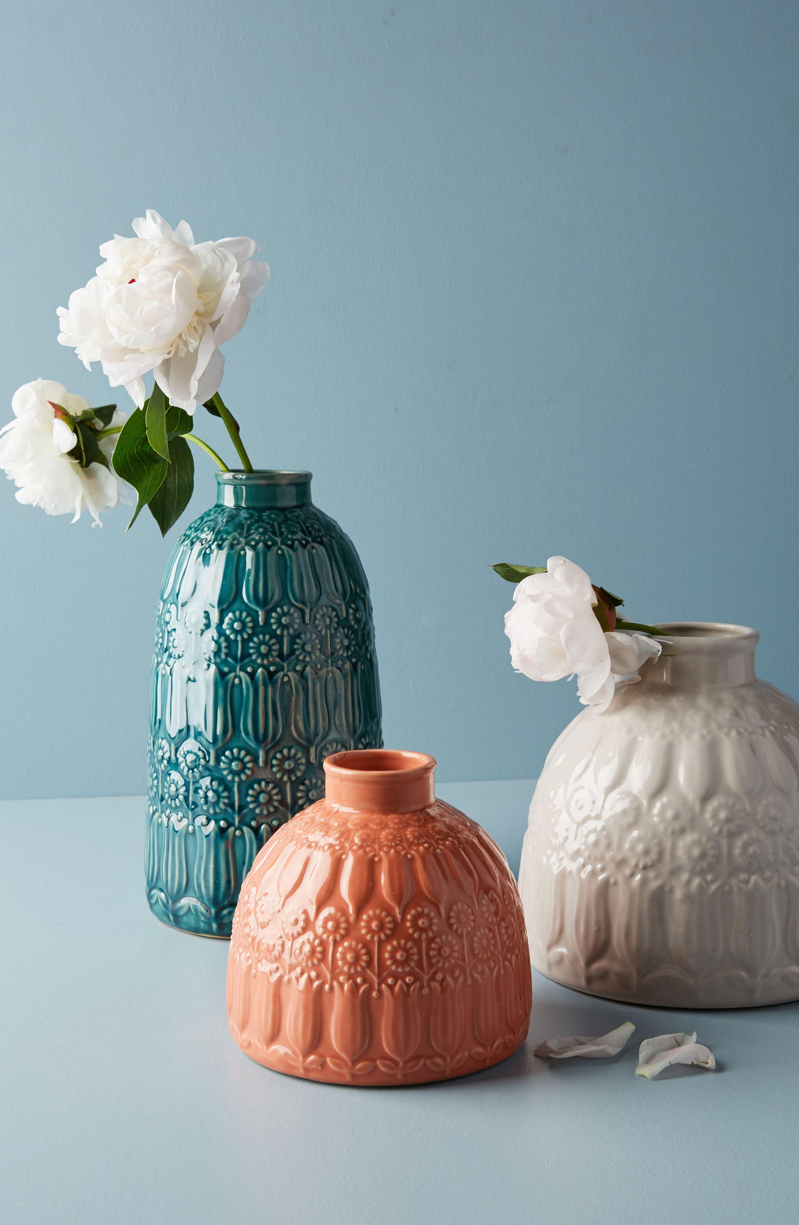 Embossed Floral Vase,                             Alternate thumbnail 3, color,                             Peach