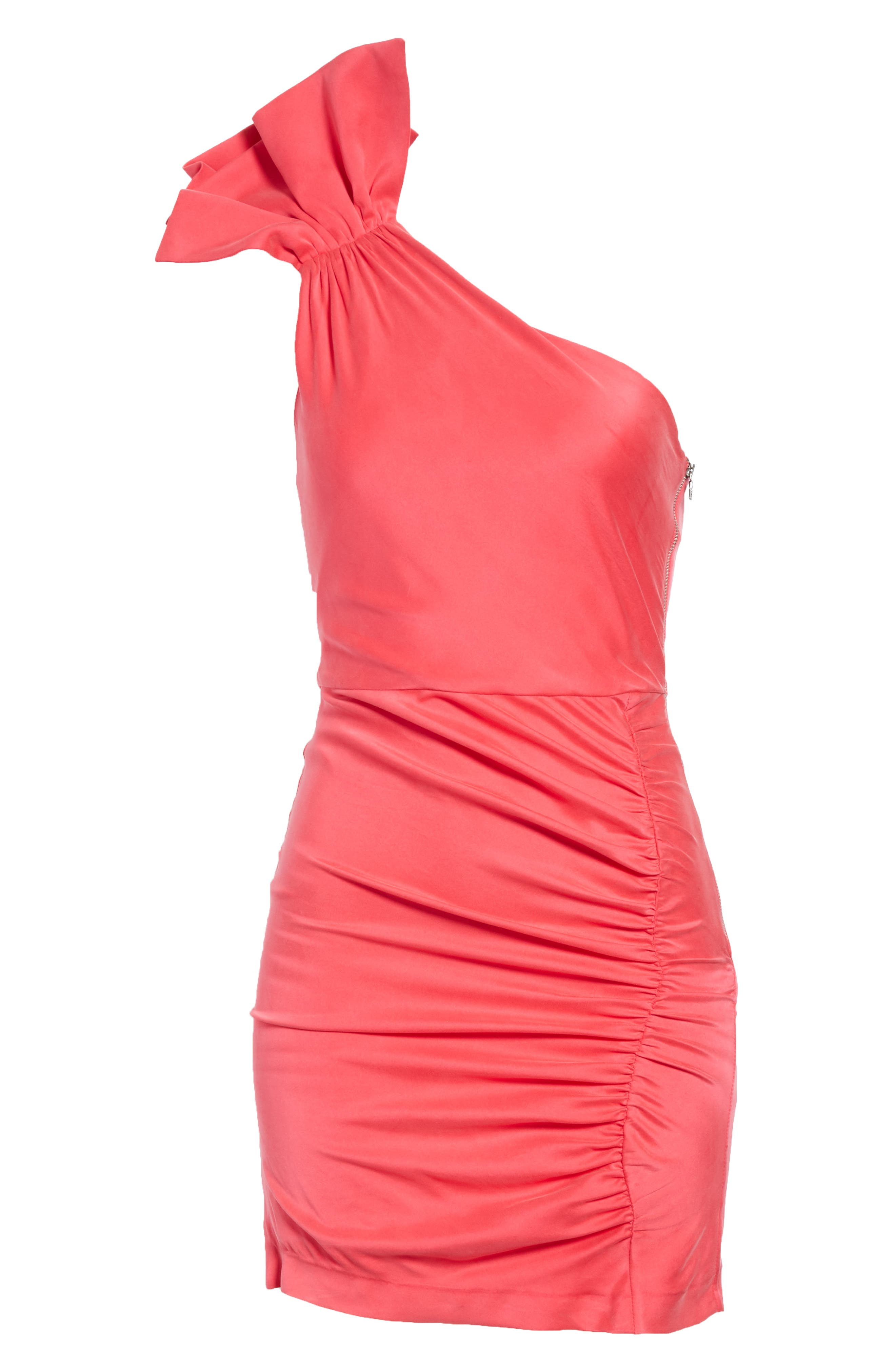 Malita One-Shoulder Fitted Mini Dress,                             Alternate thumbnail 5, color,                             Watermelon