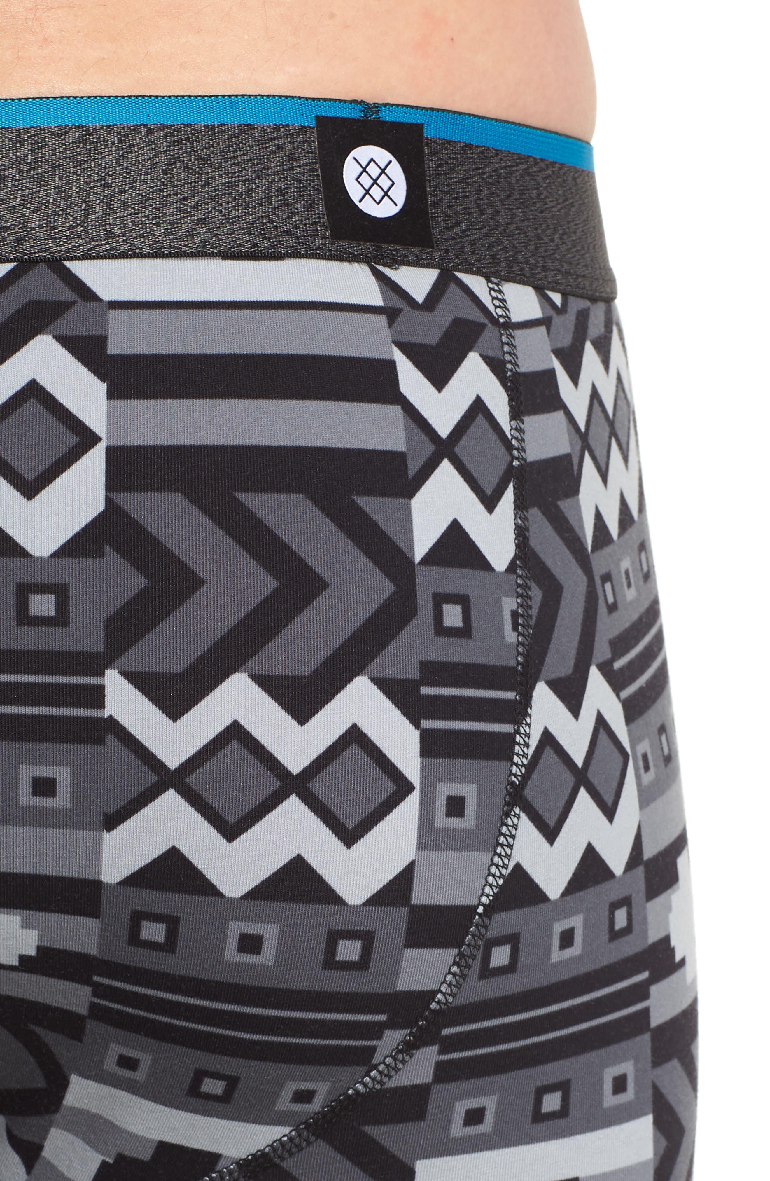 Block Puzzle Stretch Cotton Boxer Briefs,                             Alternate thumbnail 4, color,                             Black