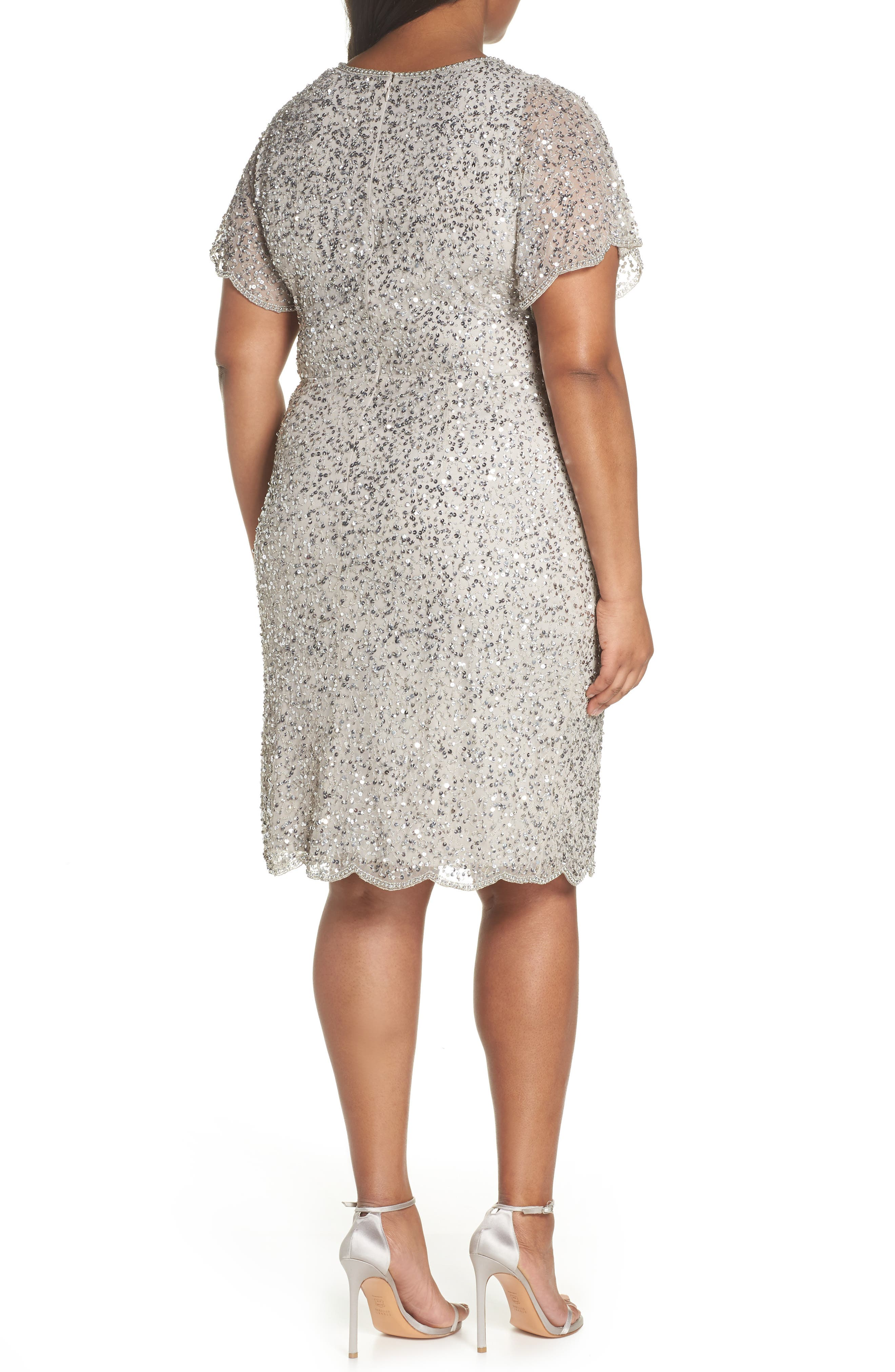 Beaded Flutter Sleeve Sheath Dress,                             Alternate thumbnail 2, color,                             Silver