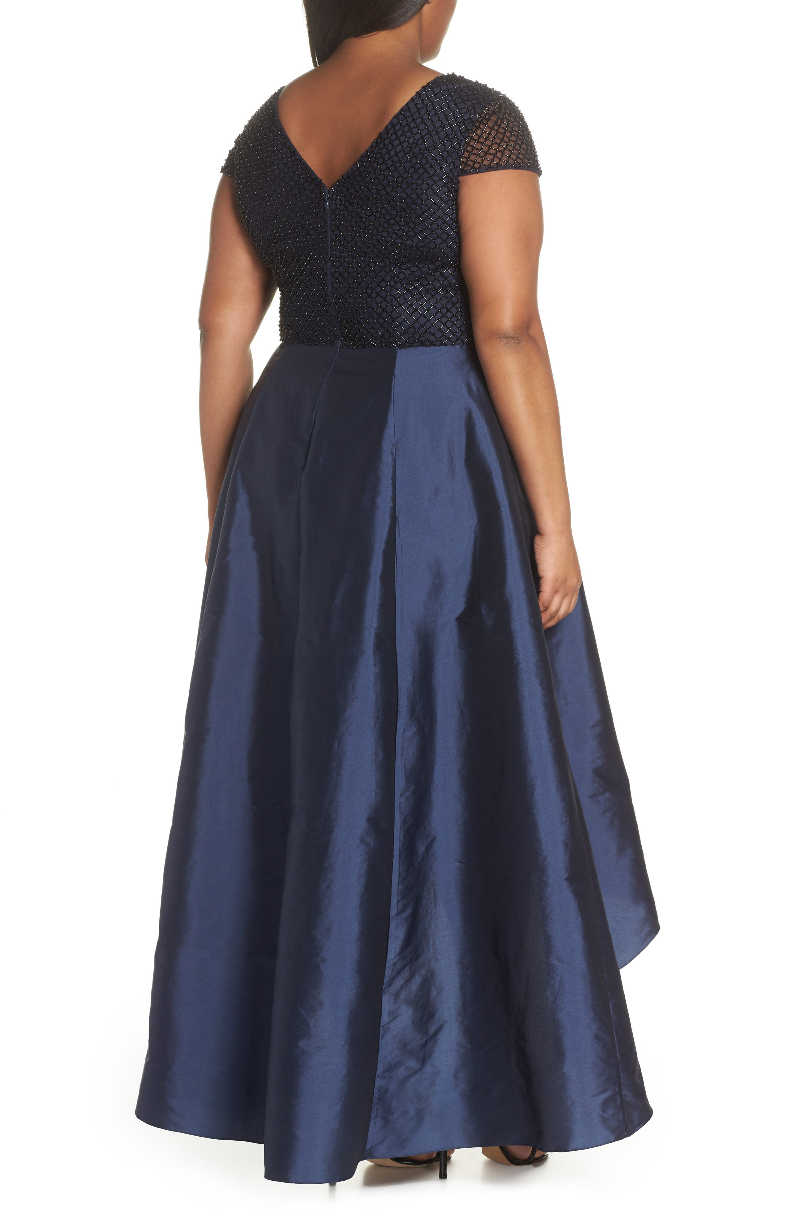 Bead Embellished High/Low Gown,                             Alternate thumbnail 2, color,                             Navy