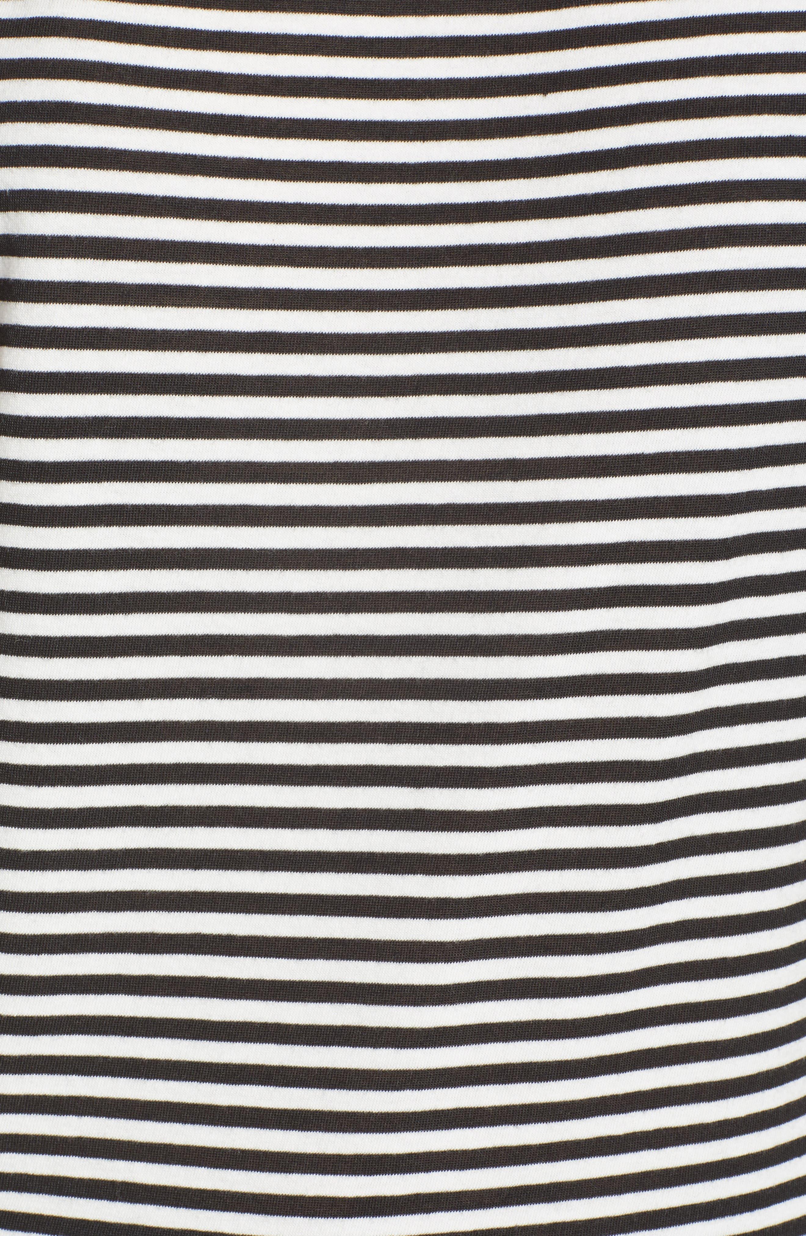 Dorado Stripe One-Shoulder Tee,                             Alternate thumbnail 6, color,                             Black Cat/ White Stripe