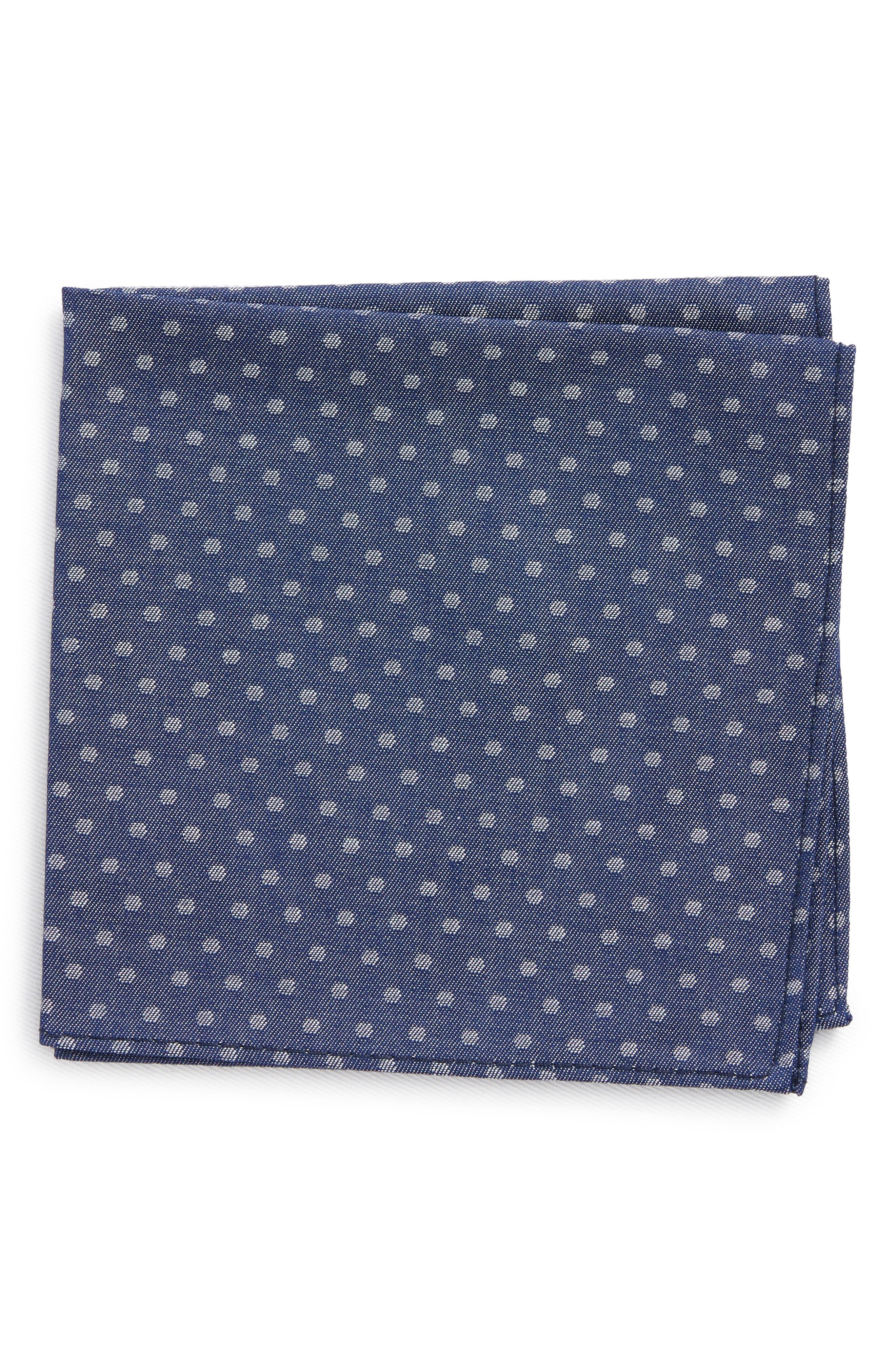 Polka Dot Silk Pocket Square,                             Main thumbnail 1, color,                             Blue