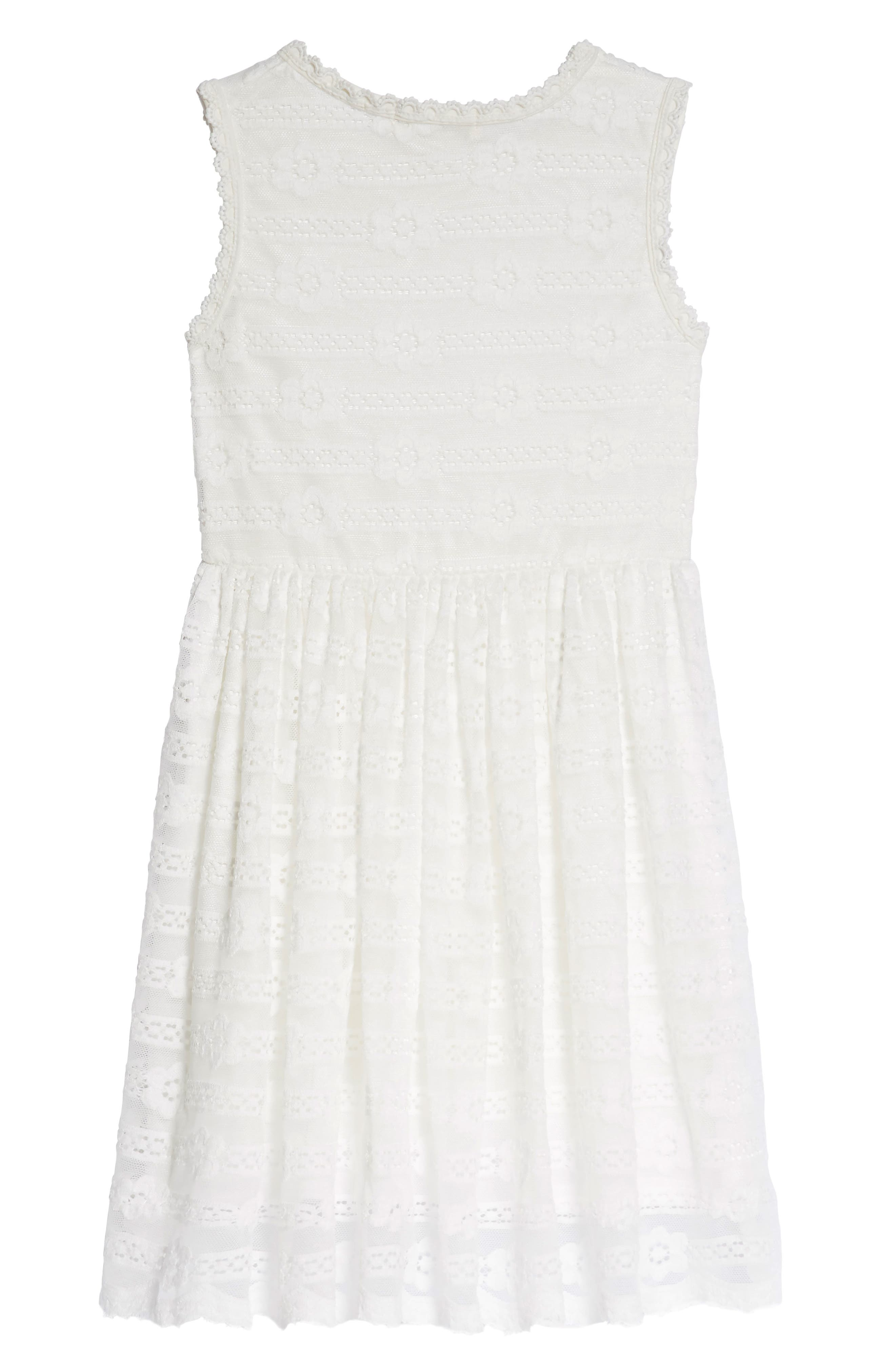 Lace Fit & Flare Dress,                             Alternate thumbnail 2, color,                             White