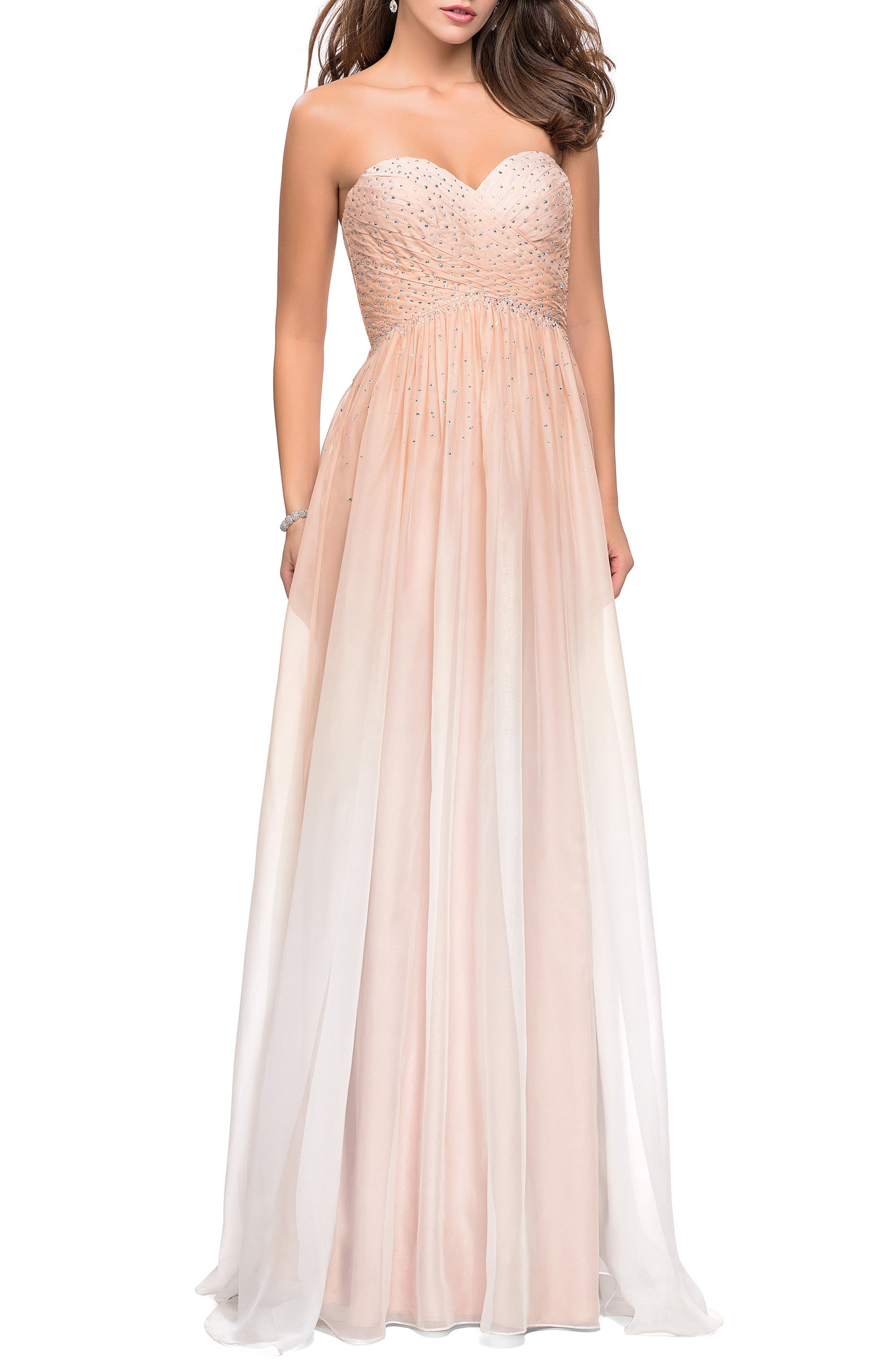 Strapless Chiffon Gown,                             Main thumbnail 1, color,                             Nude
