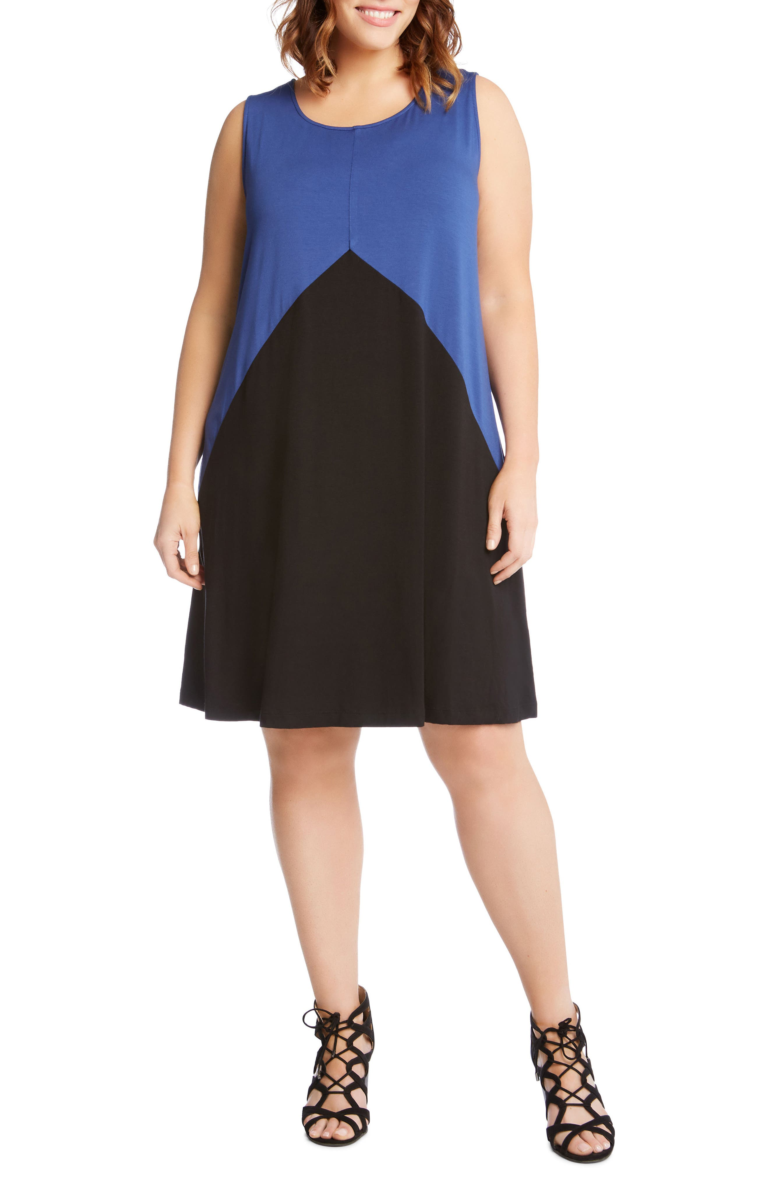 Colorblock Shift Dress,                             Main thumbnail 1, color,                             Blue With Black