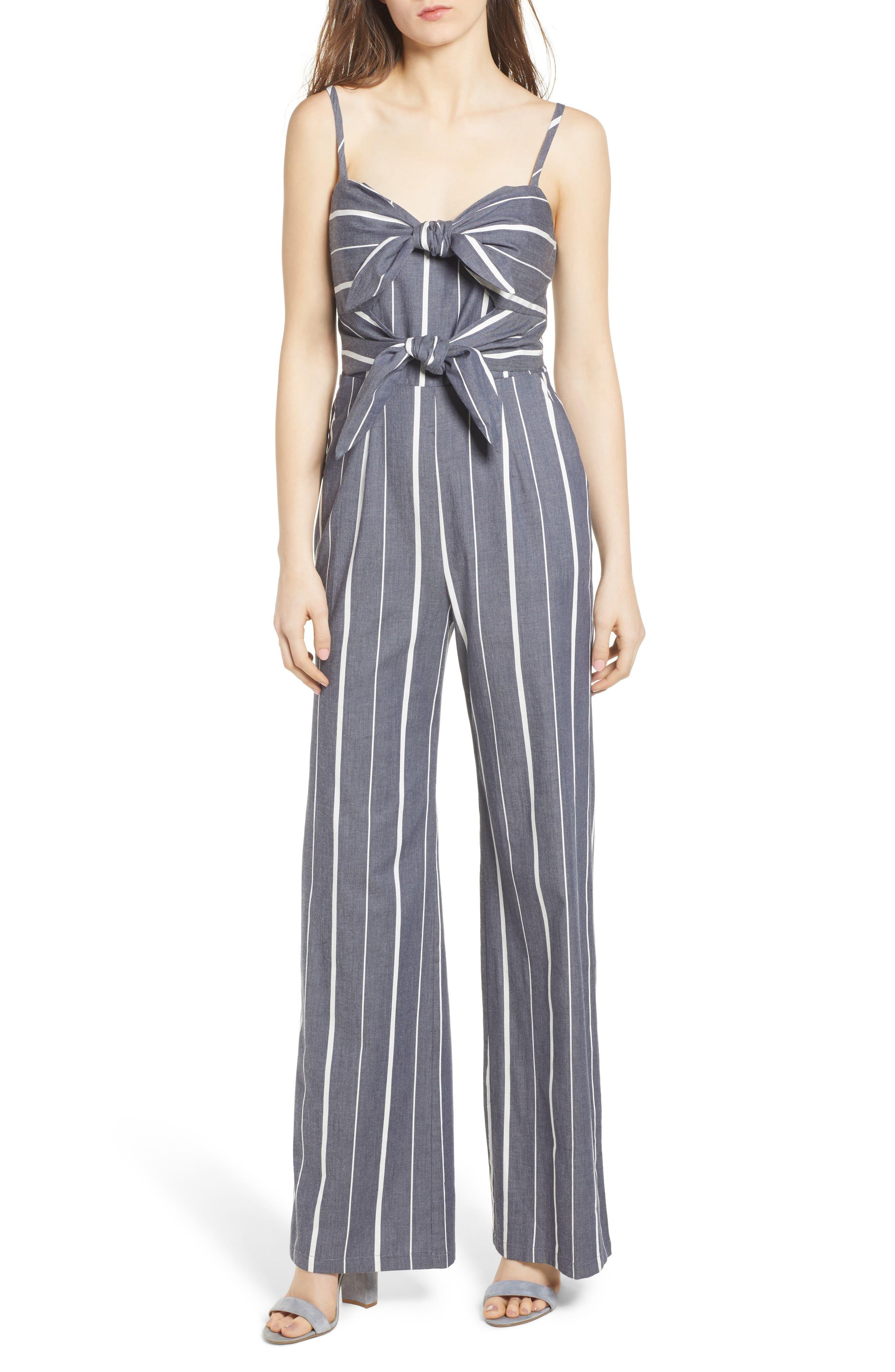 Double Tie Front Jumpsuit,                         Main,                         color, Denim/ White
