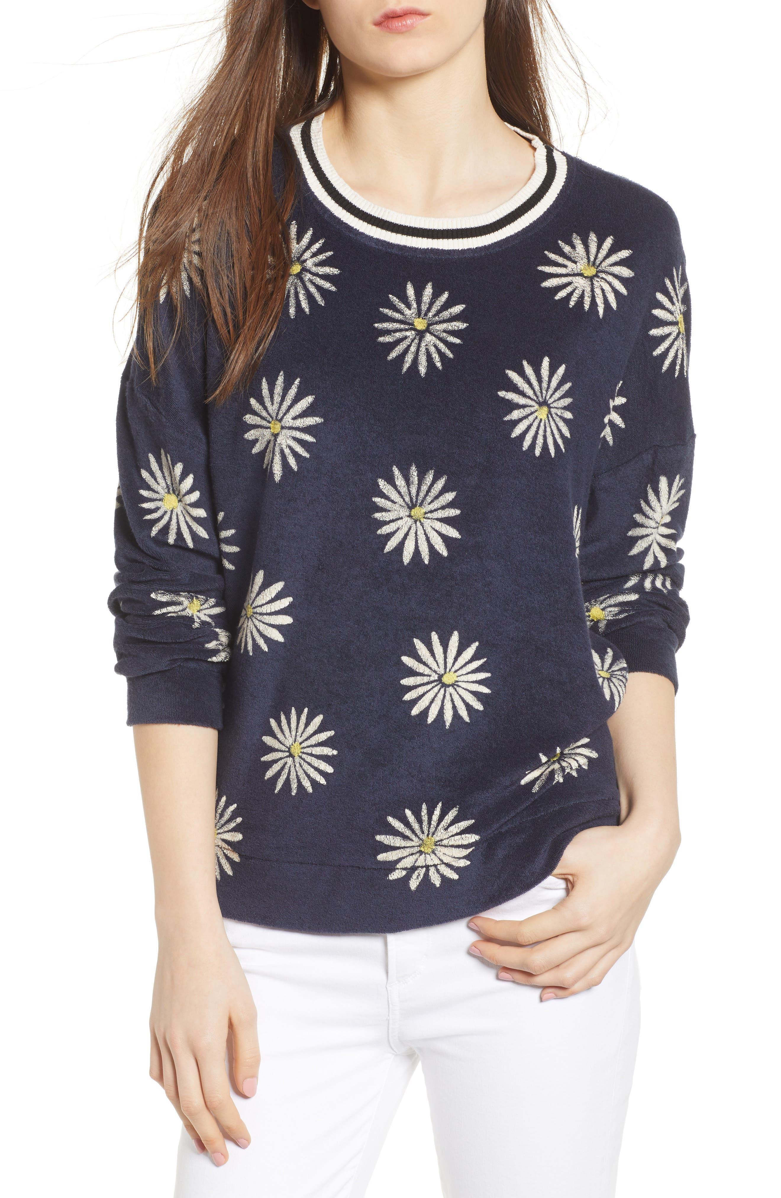 x Margherita Fiore Daisy Sweatshirt,                             Main thumbnail 1, color,                             Navy