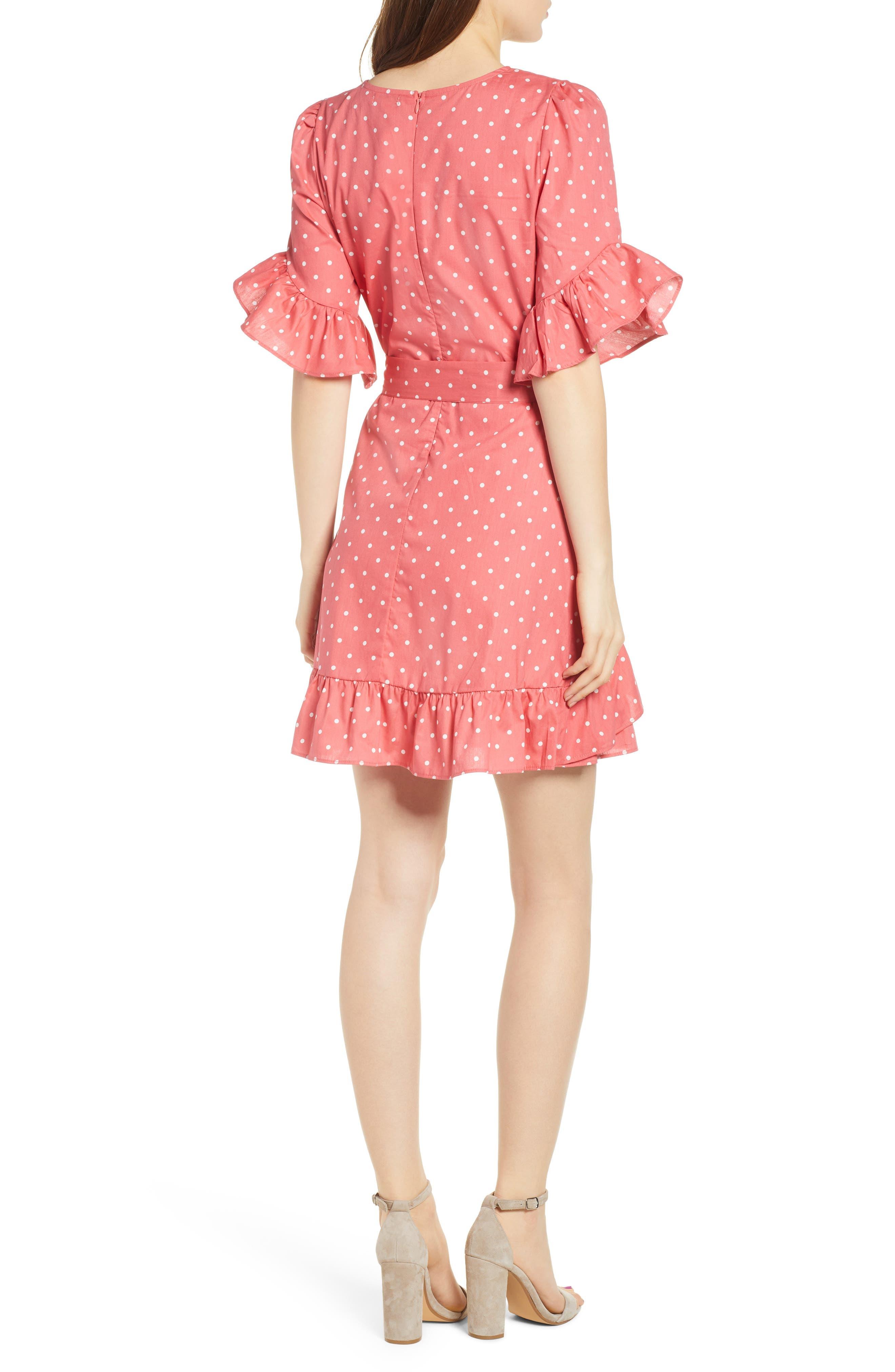 Ruffle Faux Wrap Dress,                             Alternate thumbnail 2, color,                             Red