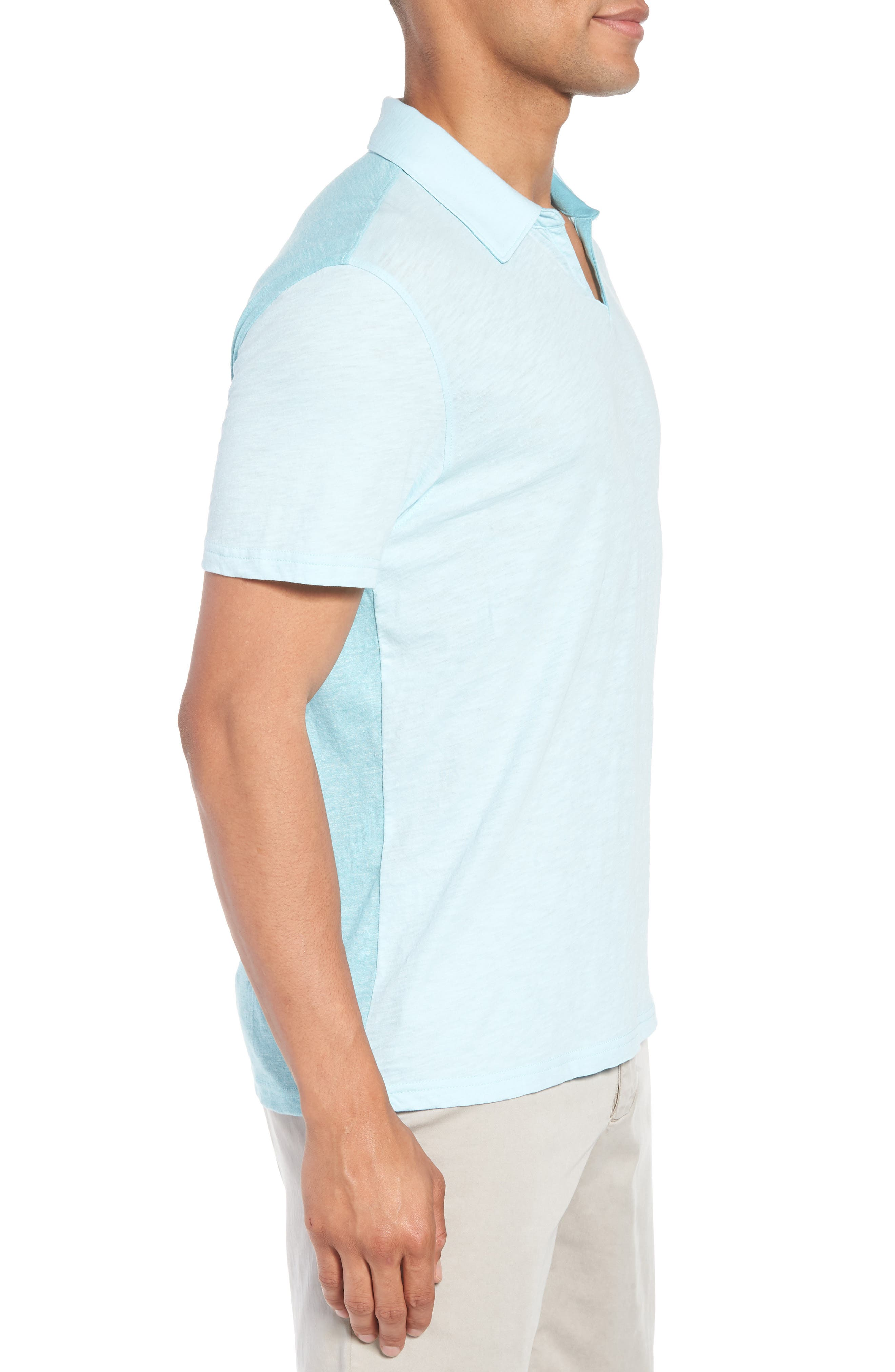 Clover Johnny Collar Polo,                             Alternate thumbnail 3, color,                             Light Turquoise