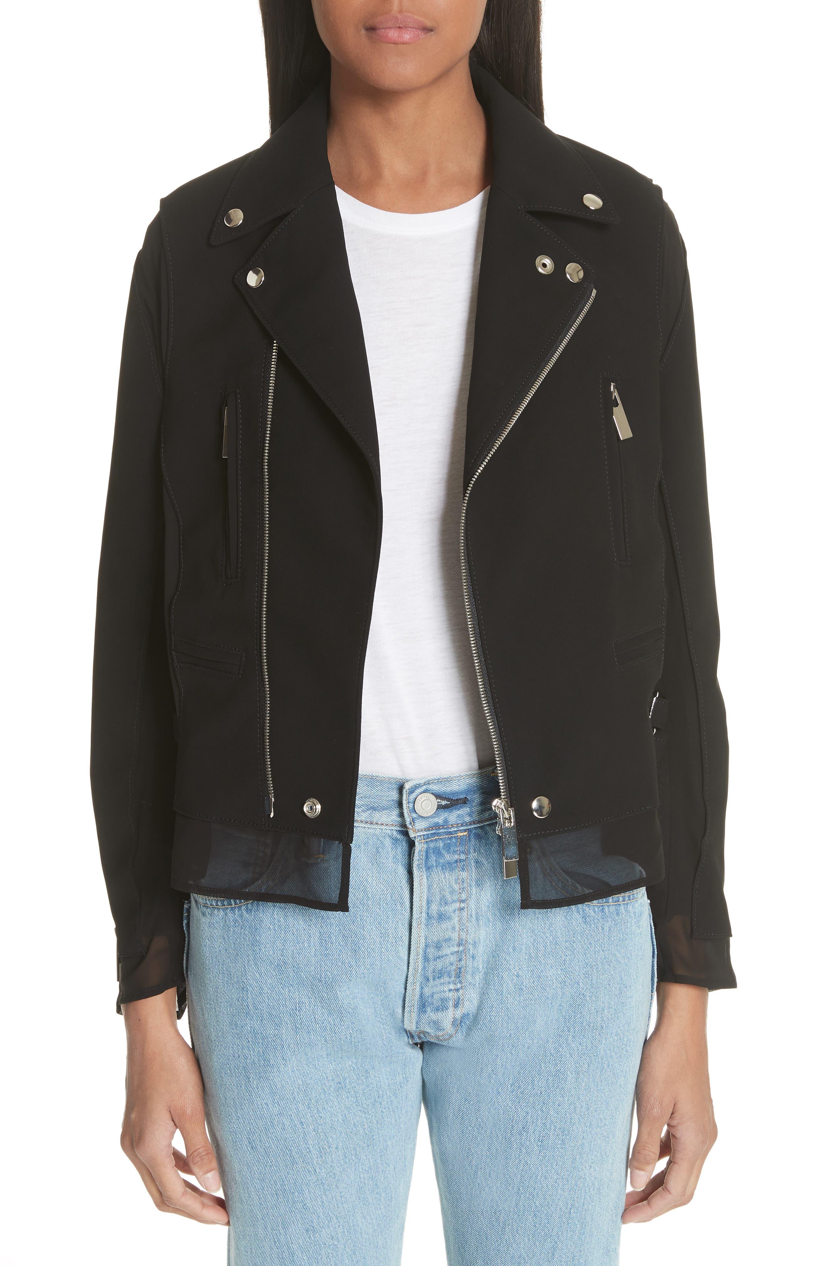 noir kei ninomiya Ribbon Trim Moto Jacket
