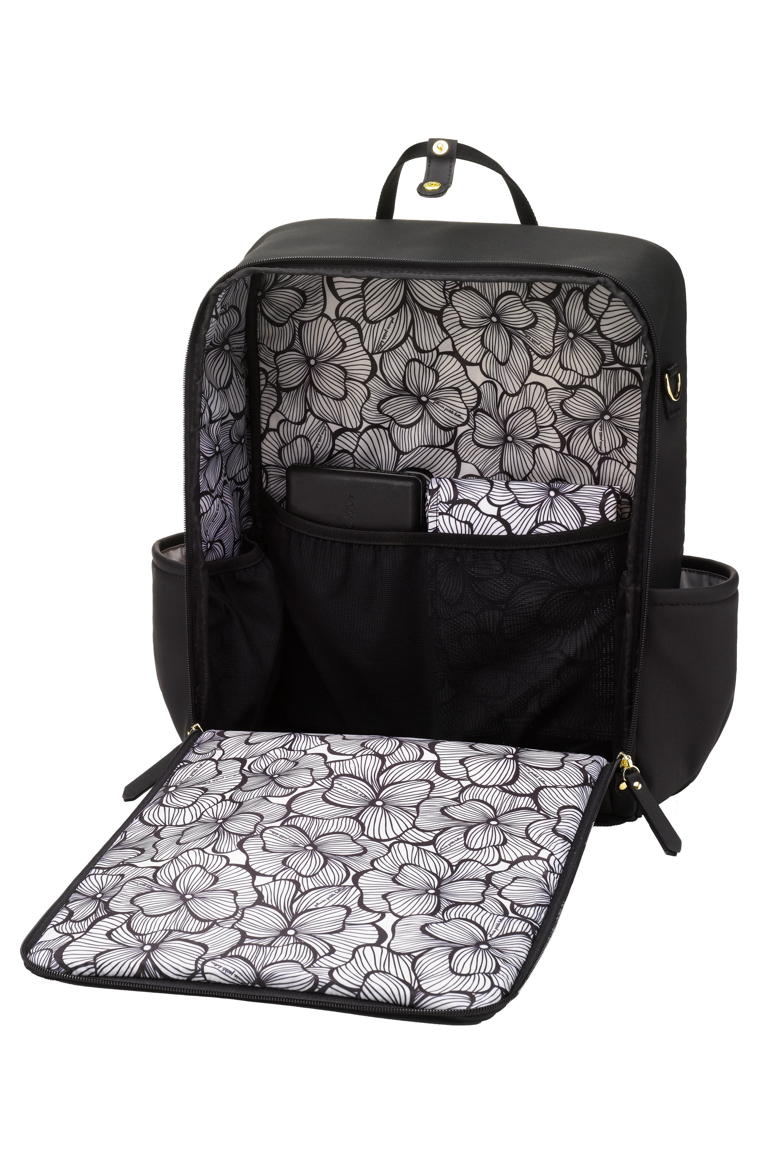 Balance Backpack Diaper Bag,                             Alternate thumbnail 4, color,                             Black Matte Leatherette