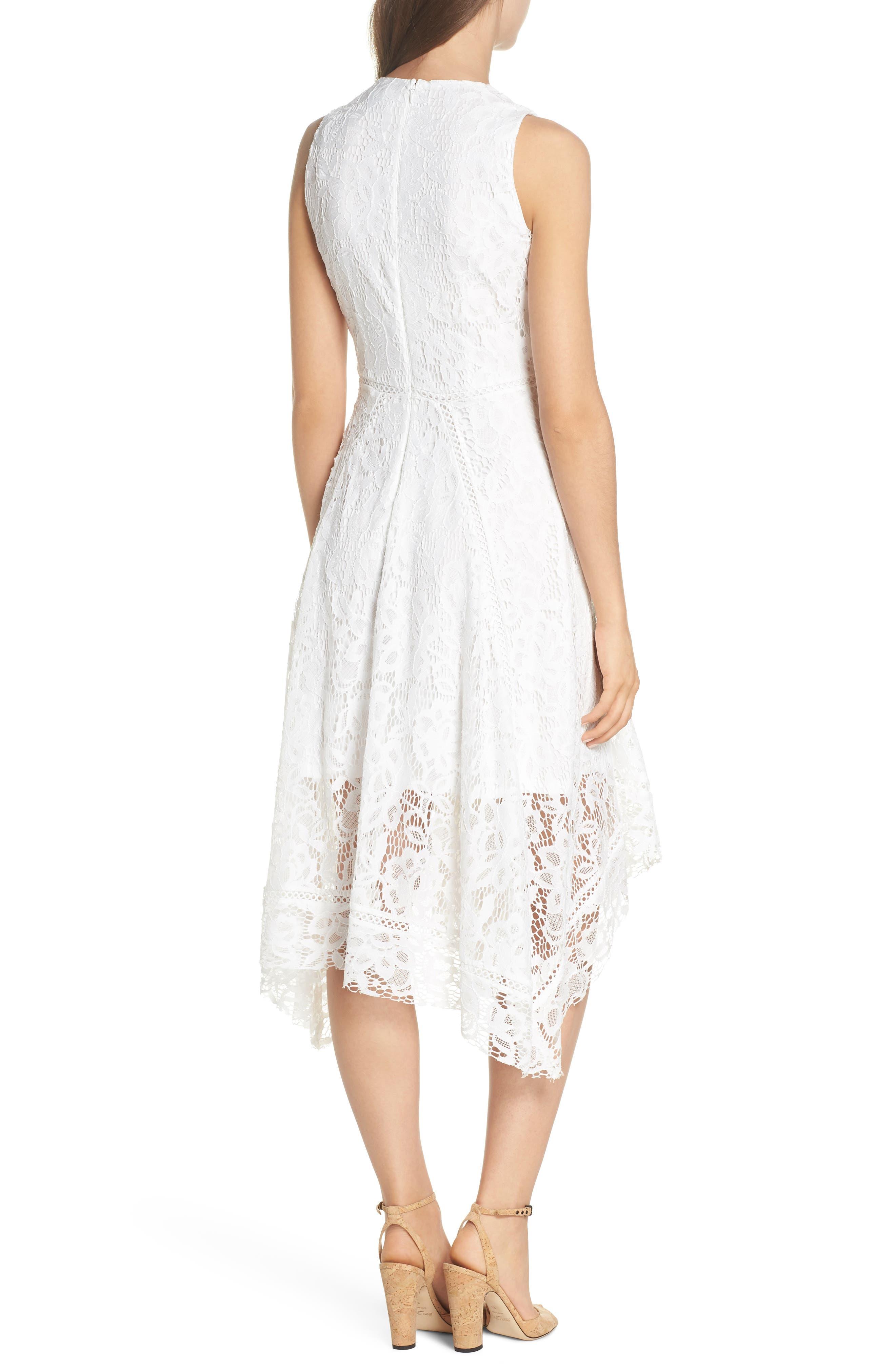 Lace Midi Dress,                             Alternate thumbnail 2, color,                             Ivory