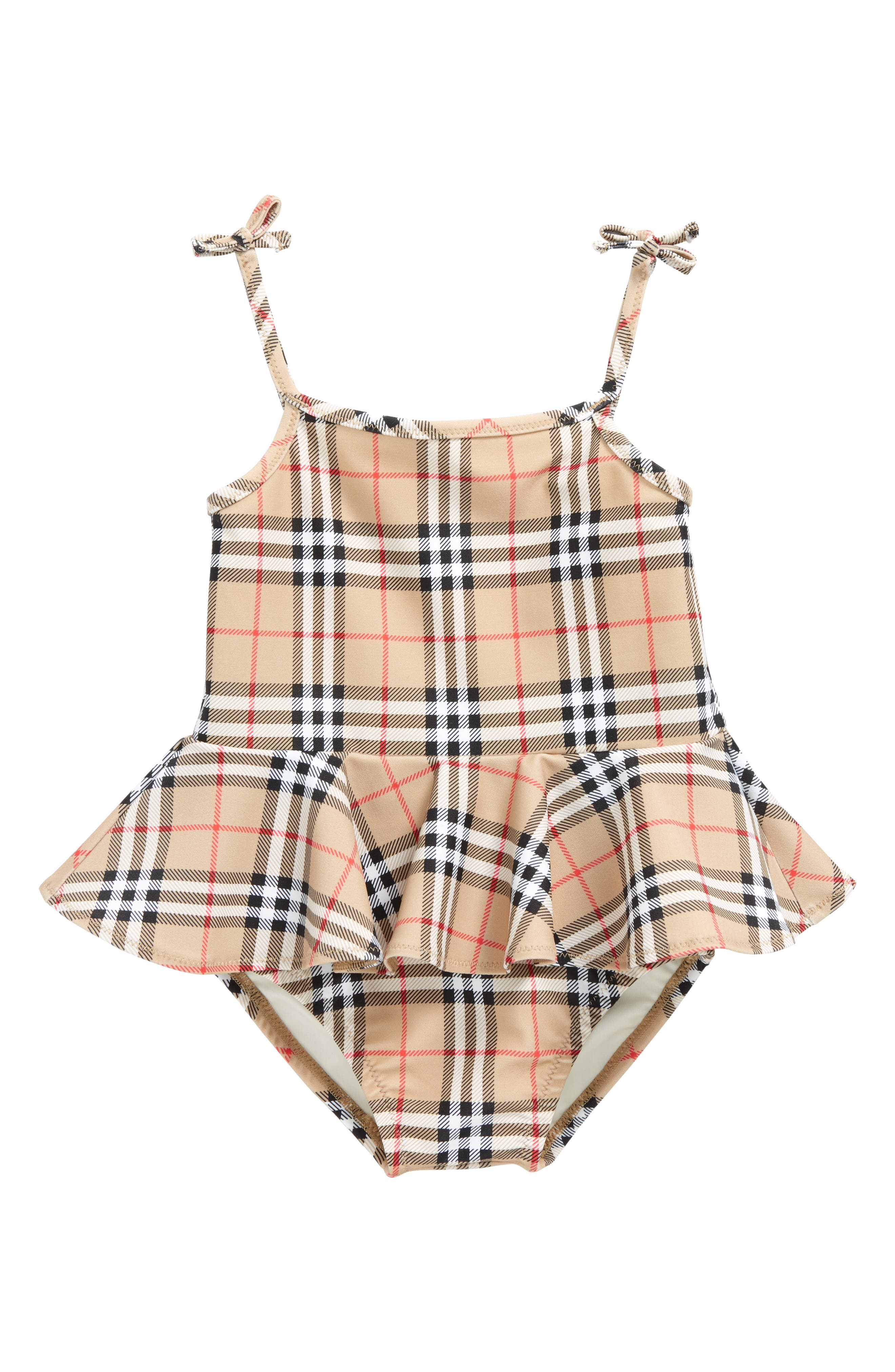 Luella Check Skirted One-Piece Swimsuit,                             Main thumbnail 1, color,                             Camel