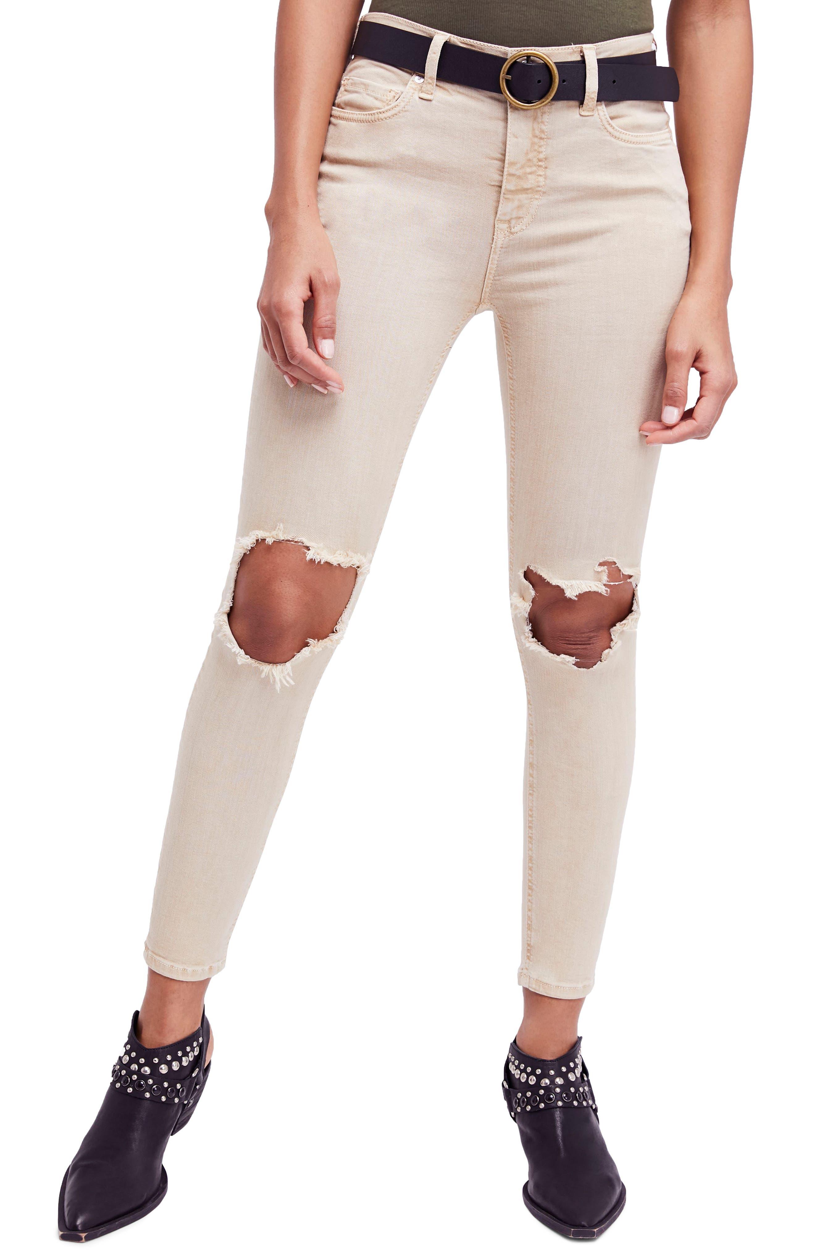High Waist Busted Knee Skinny Jeans,                         Main,                         color, Khaki