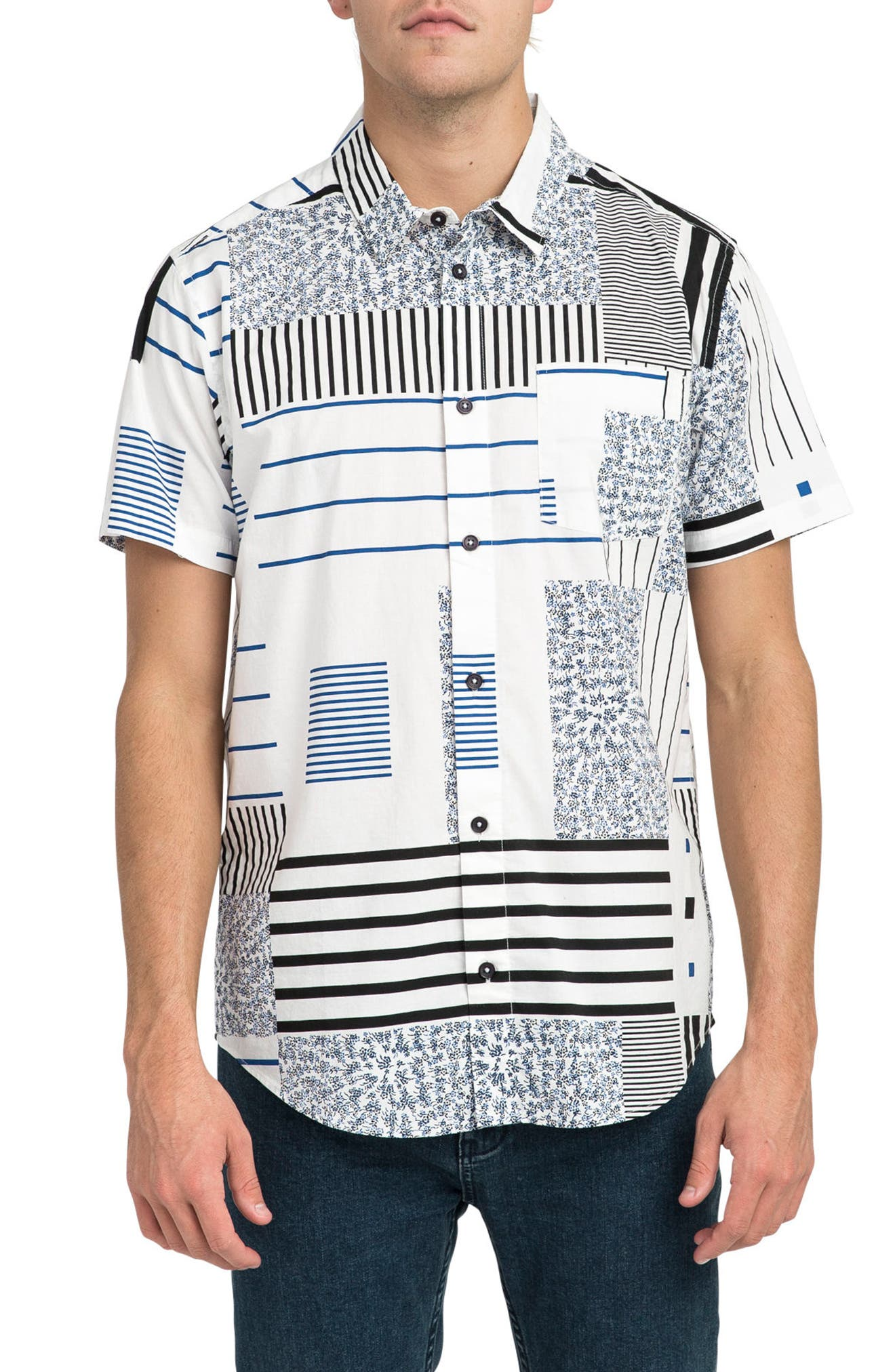Mixed Linear Short Sleeve Shirt,                         Main,                         color, White Multi