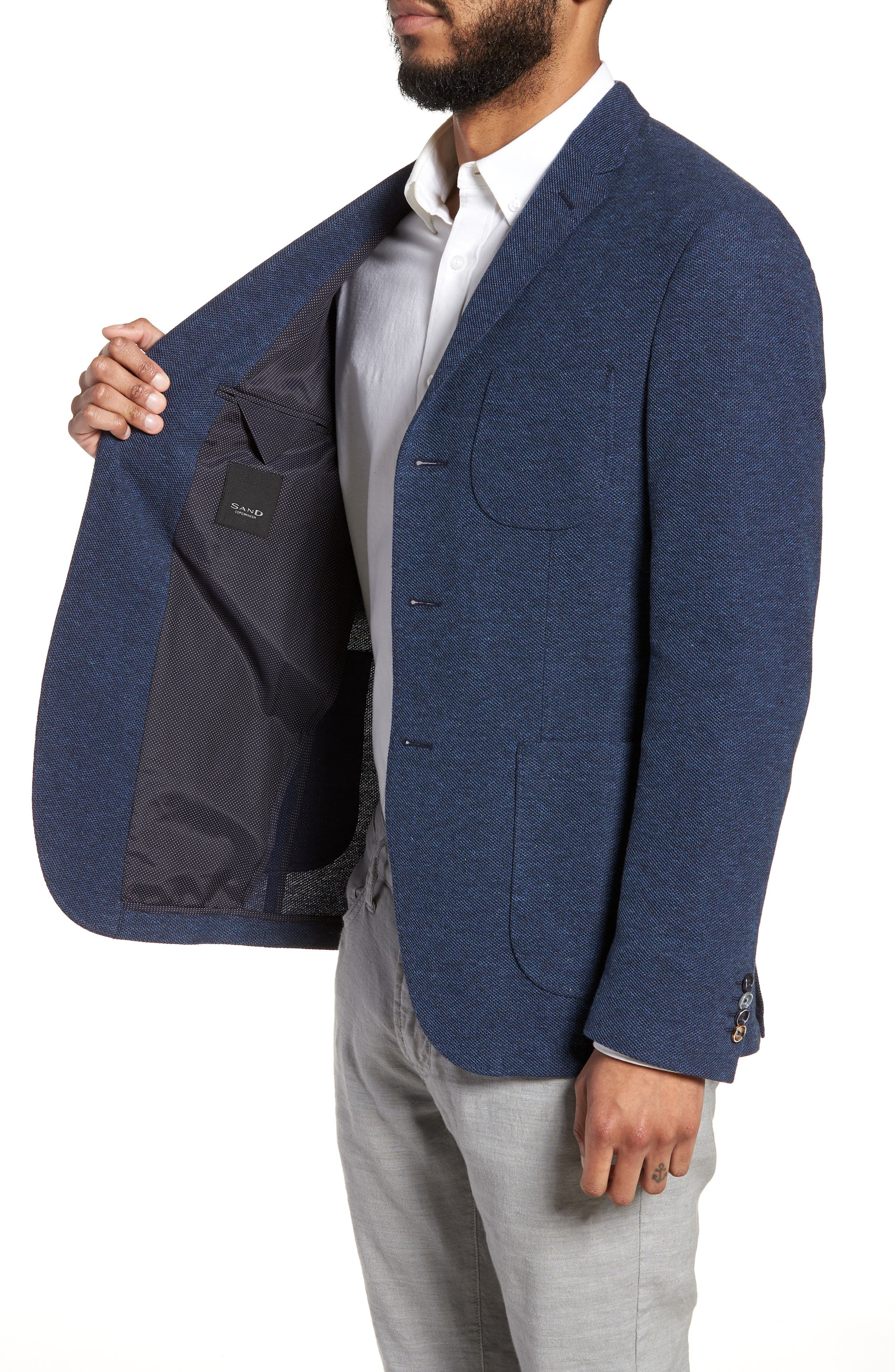 Trim Fit Cotton Blend Blazer,                             Alternate thumbnail 4, color,                             Mid Blue