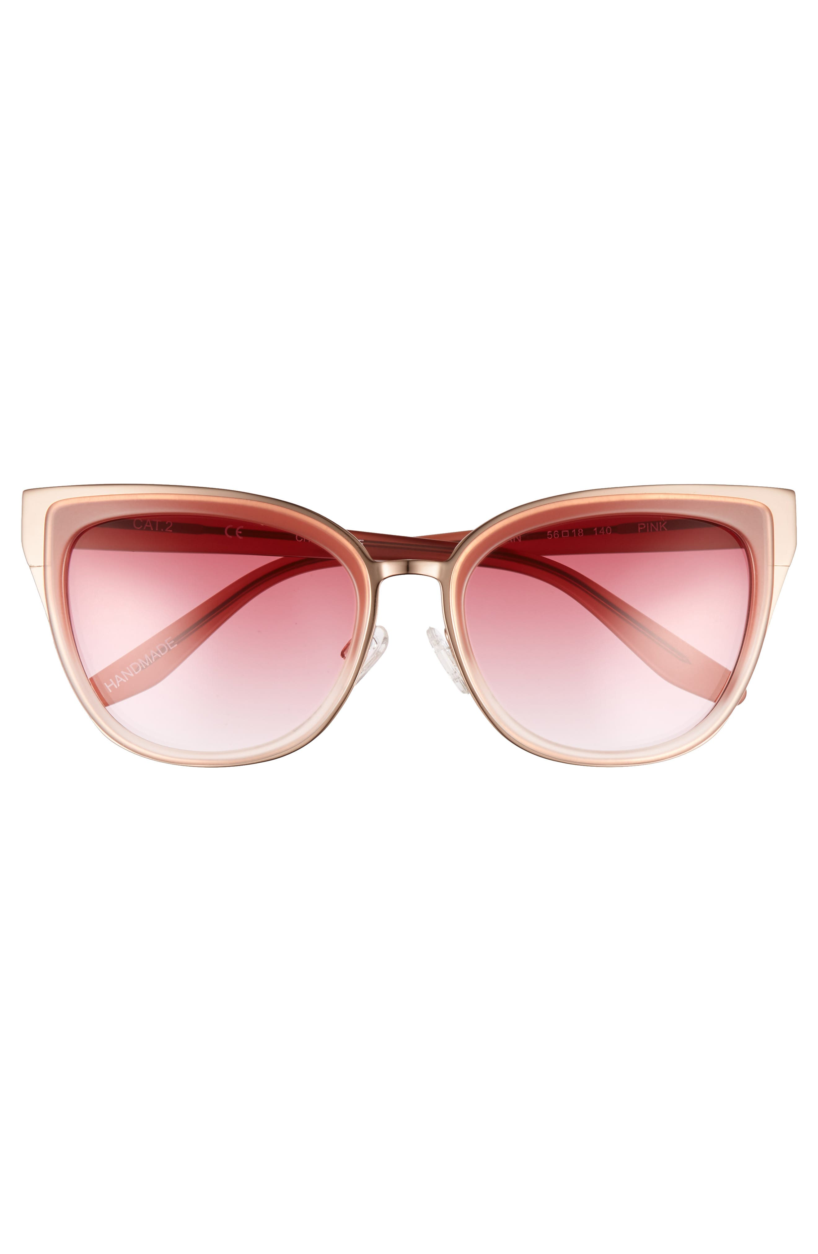 Lillian 56mm Sunglasses,                             Alternate thumbnail 3, color,                             Milky Pink- Rose Gold