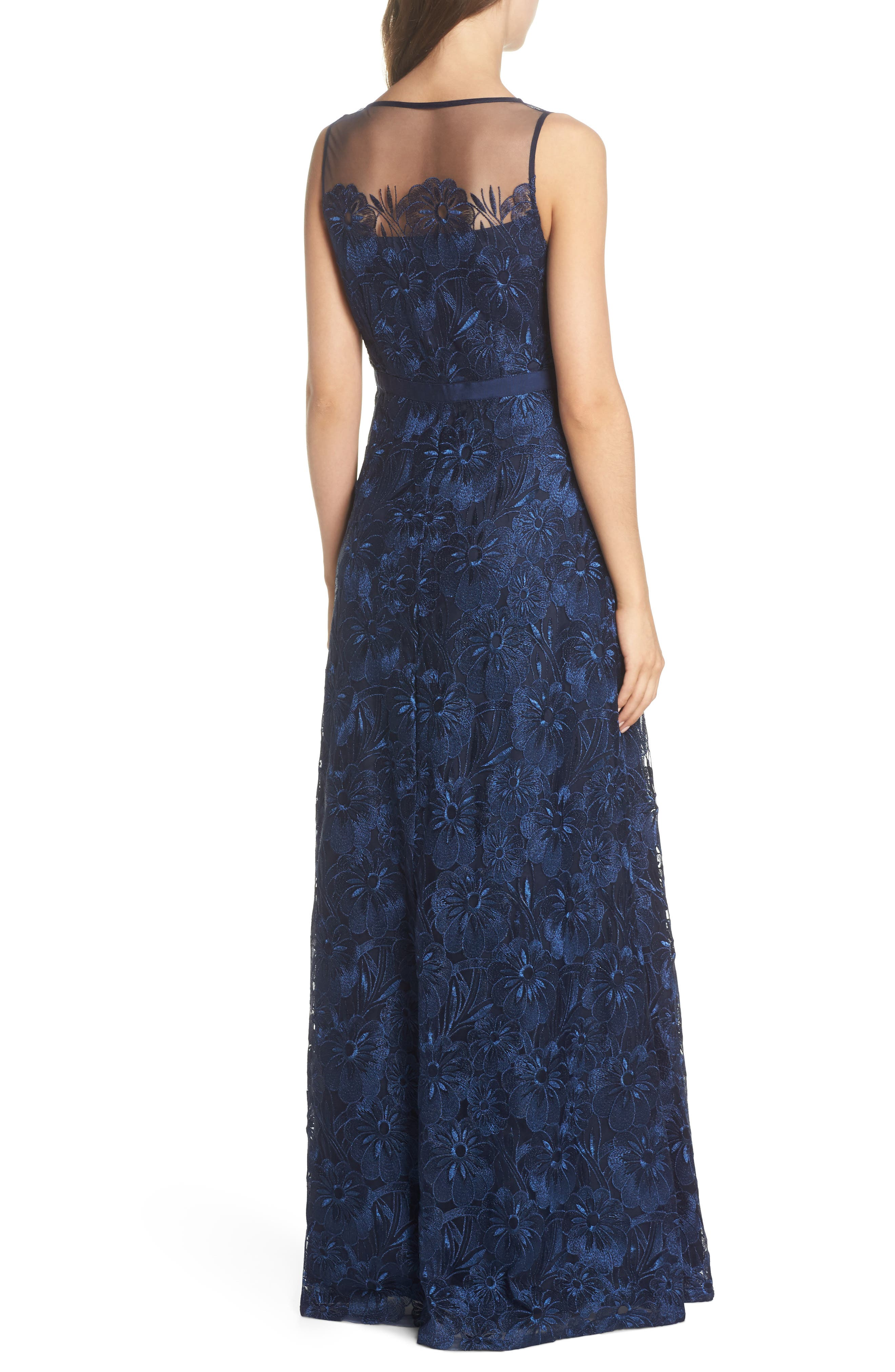 Flower Embroidered Gown,                             Alternate thumbnail 2, color,                             Midnight