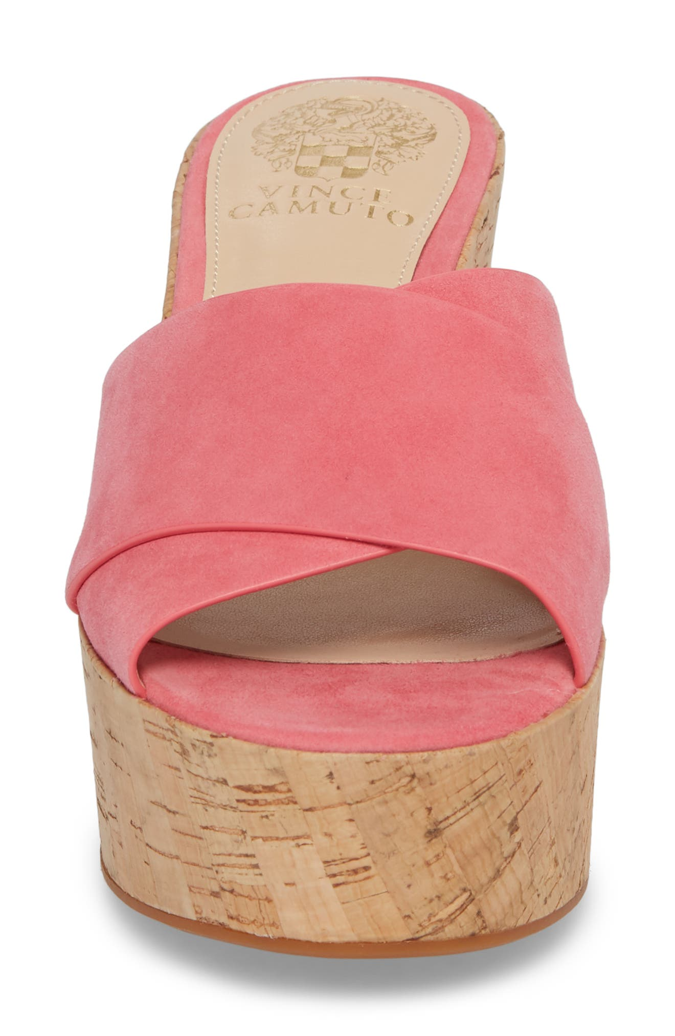 Kessina Platform Wedge Mule,                             Alternate thumbnail 4, color,                             Soft Pink Suede
