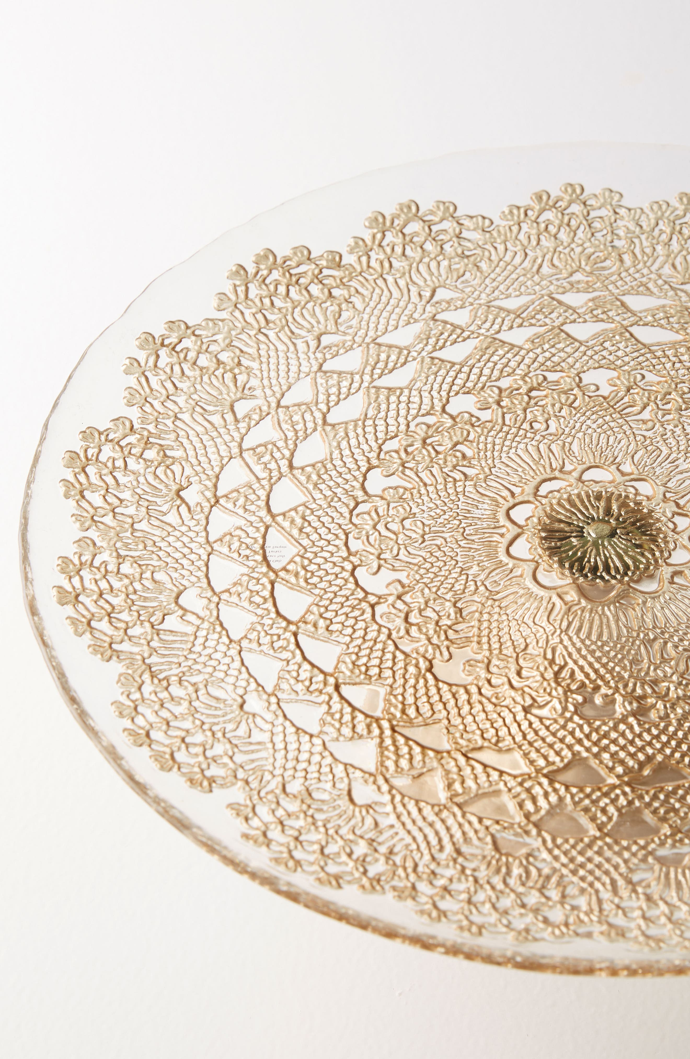 Metallic Lace Cake Stand,                             Alternate thumbnail 2, color,                             Gold