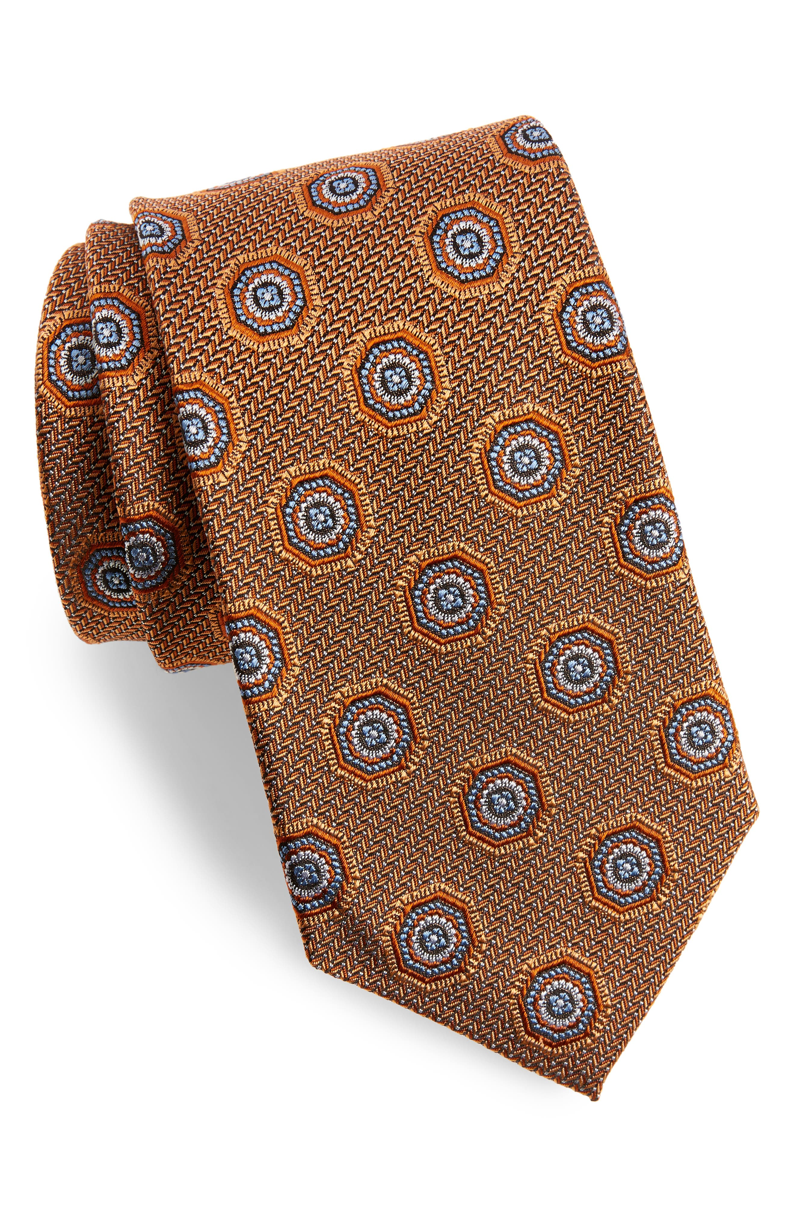 Medallion Silk Tie,                         Main,                         color, Orange