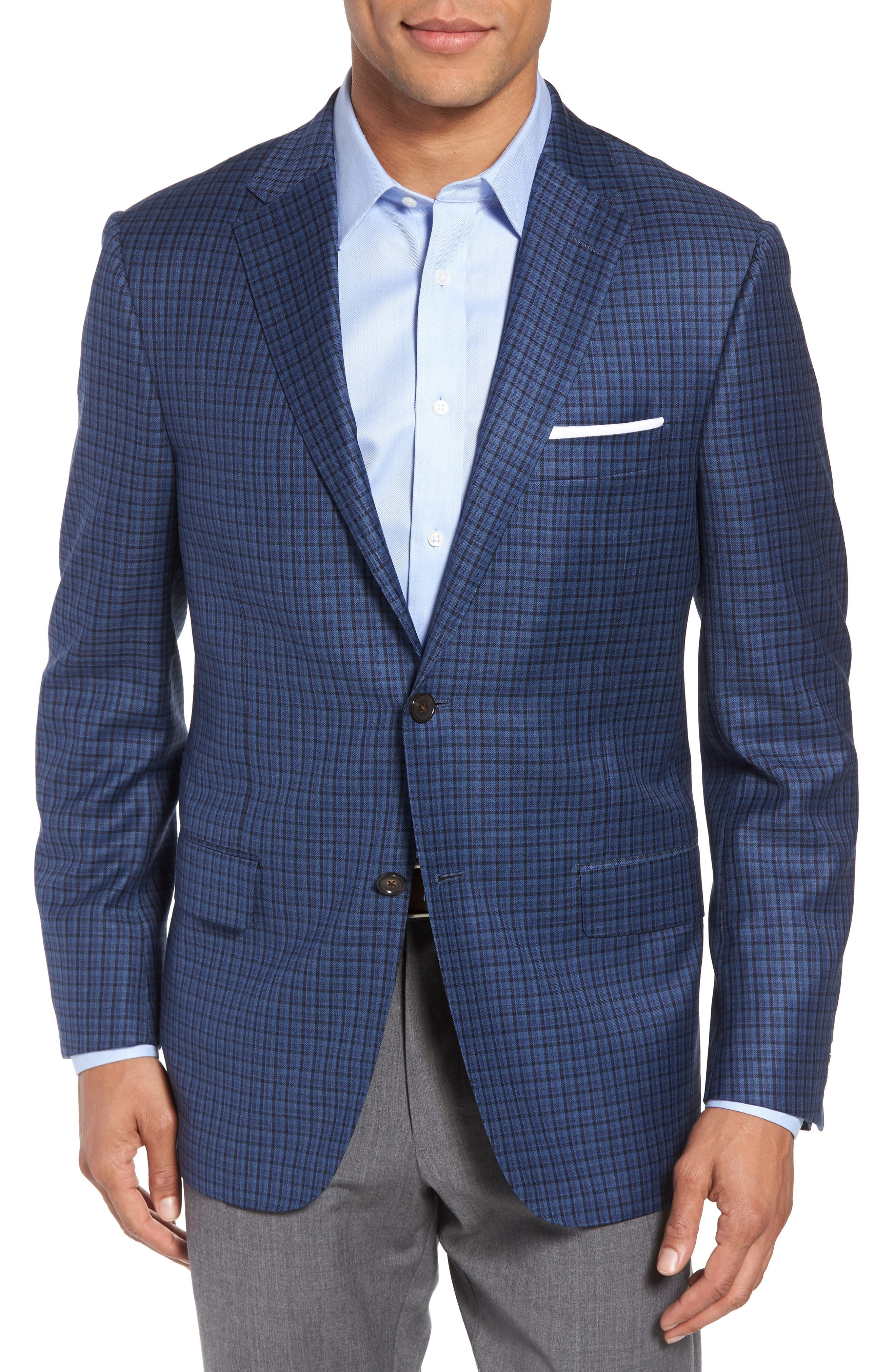 Classic B Fit Check Wool Sport Coat,                         Main,                         color, Blue Plaid