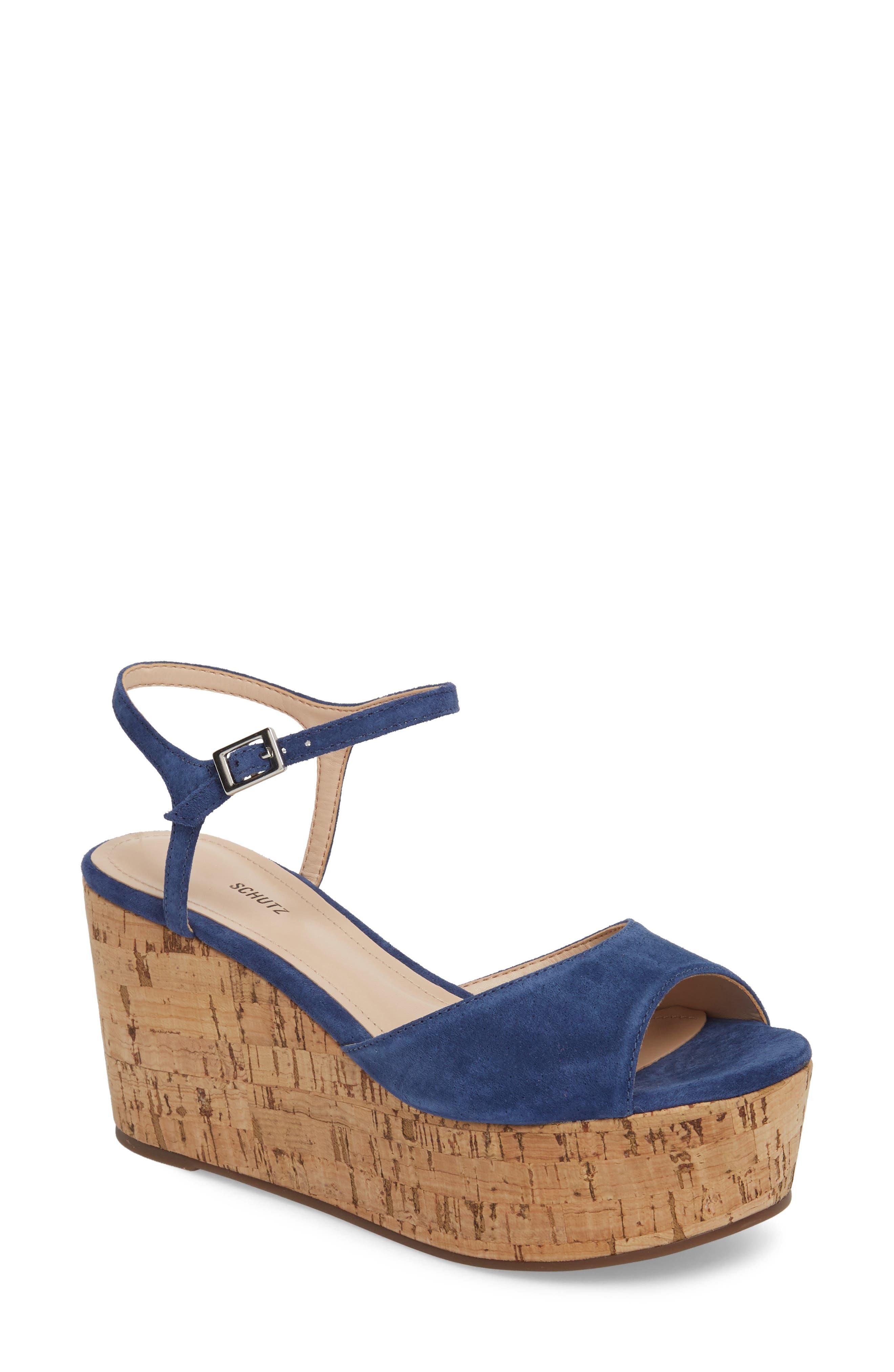 Heloise Platform Wedge Sandal,                         Main,                         color, Dress Blue