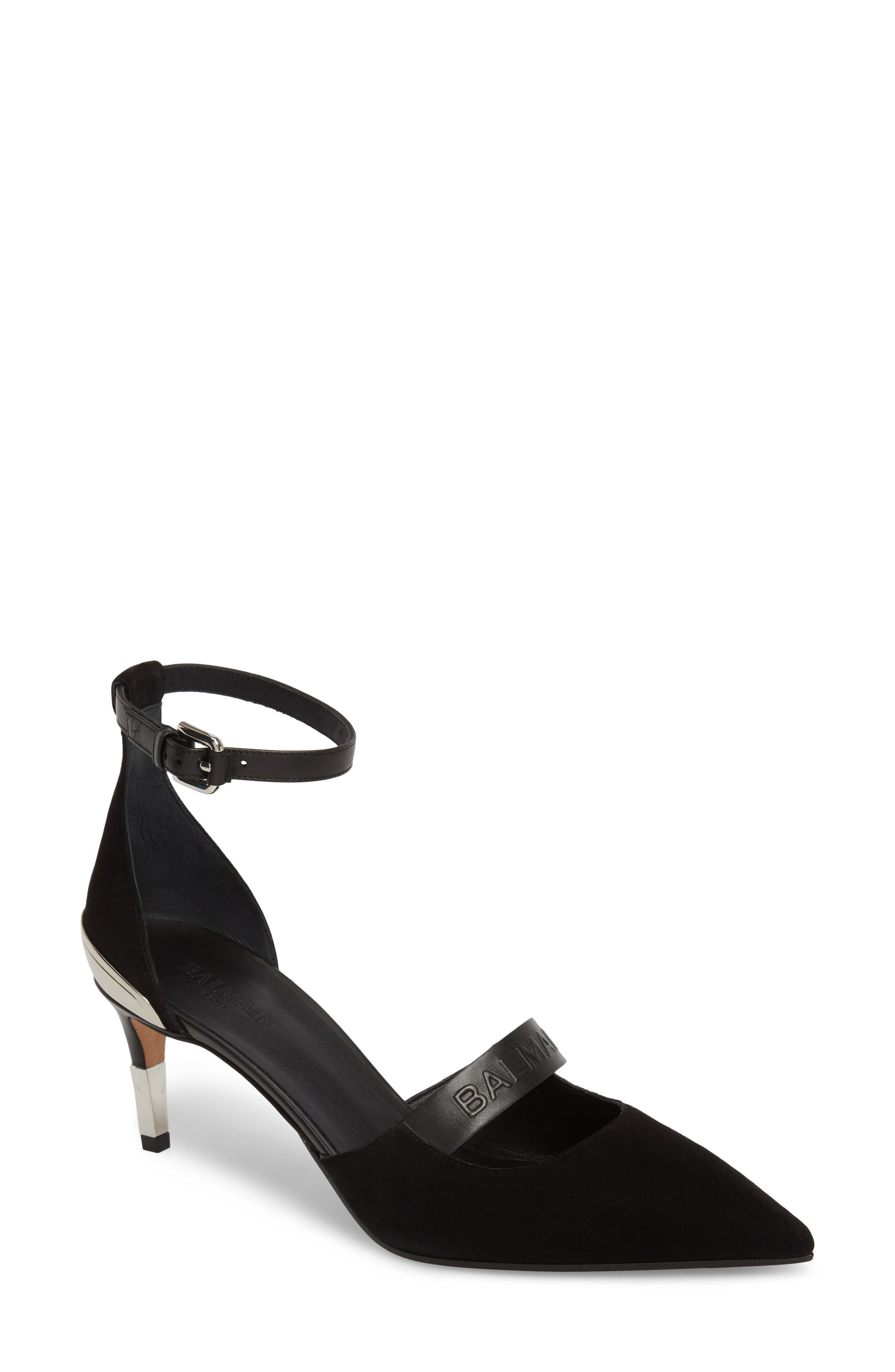 Chance Ankle Strap Pointy Toe Pump,                             Main thumbnail 1, color,                             Black