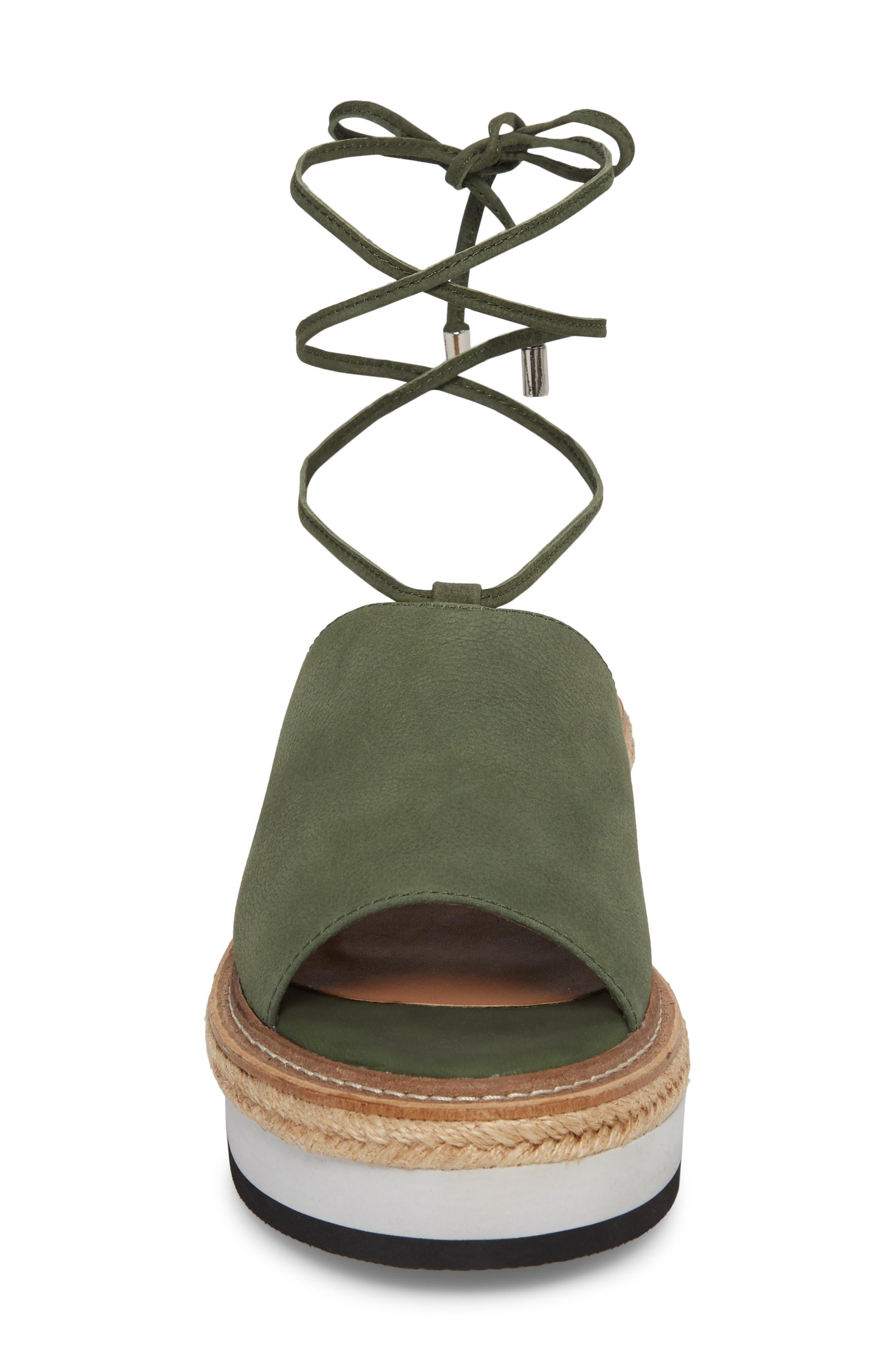 Nickel Platform Sandal,                             Alternate thumbnail 4, color,                             Khaki Nubuck Leather