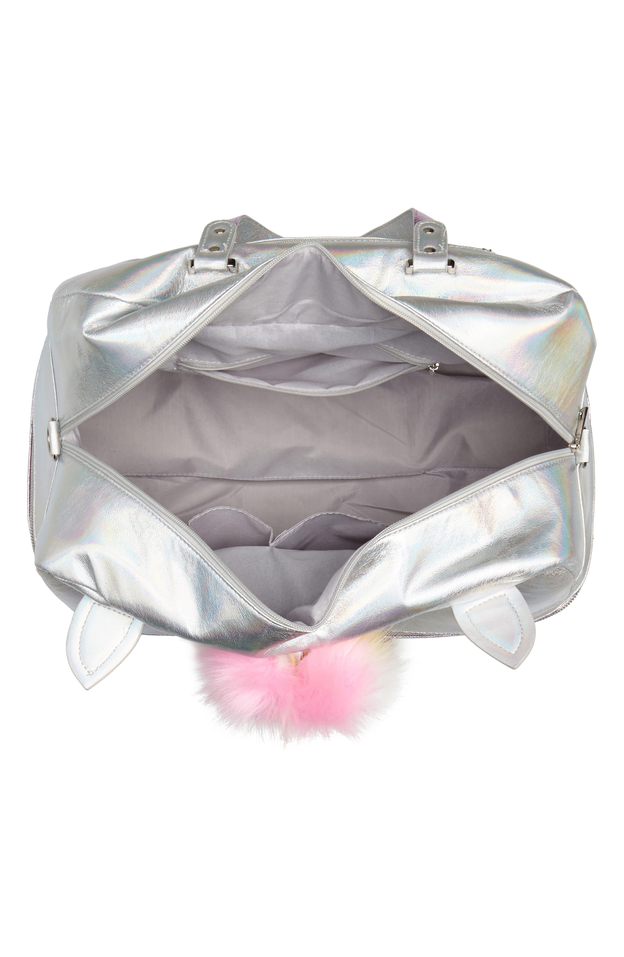Duffel Bag,                             Alternate thumbnail 4, color,                             Silver Iridescent Unicorn